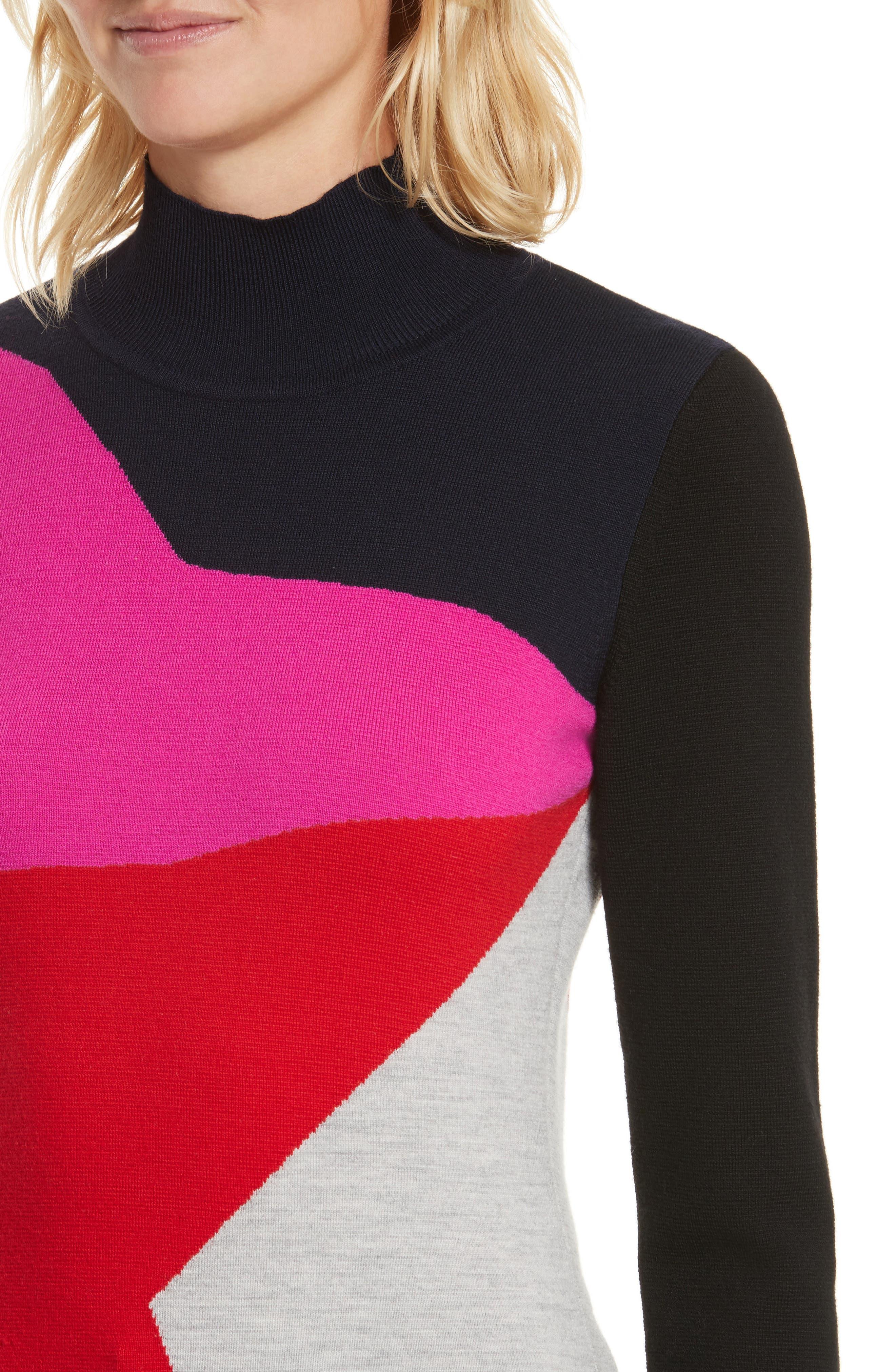 Diane von Furstenberg Colorblock Turtleneck Pullover,                             Alternate thumbnail 4, color,                             642