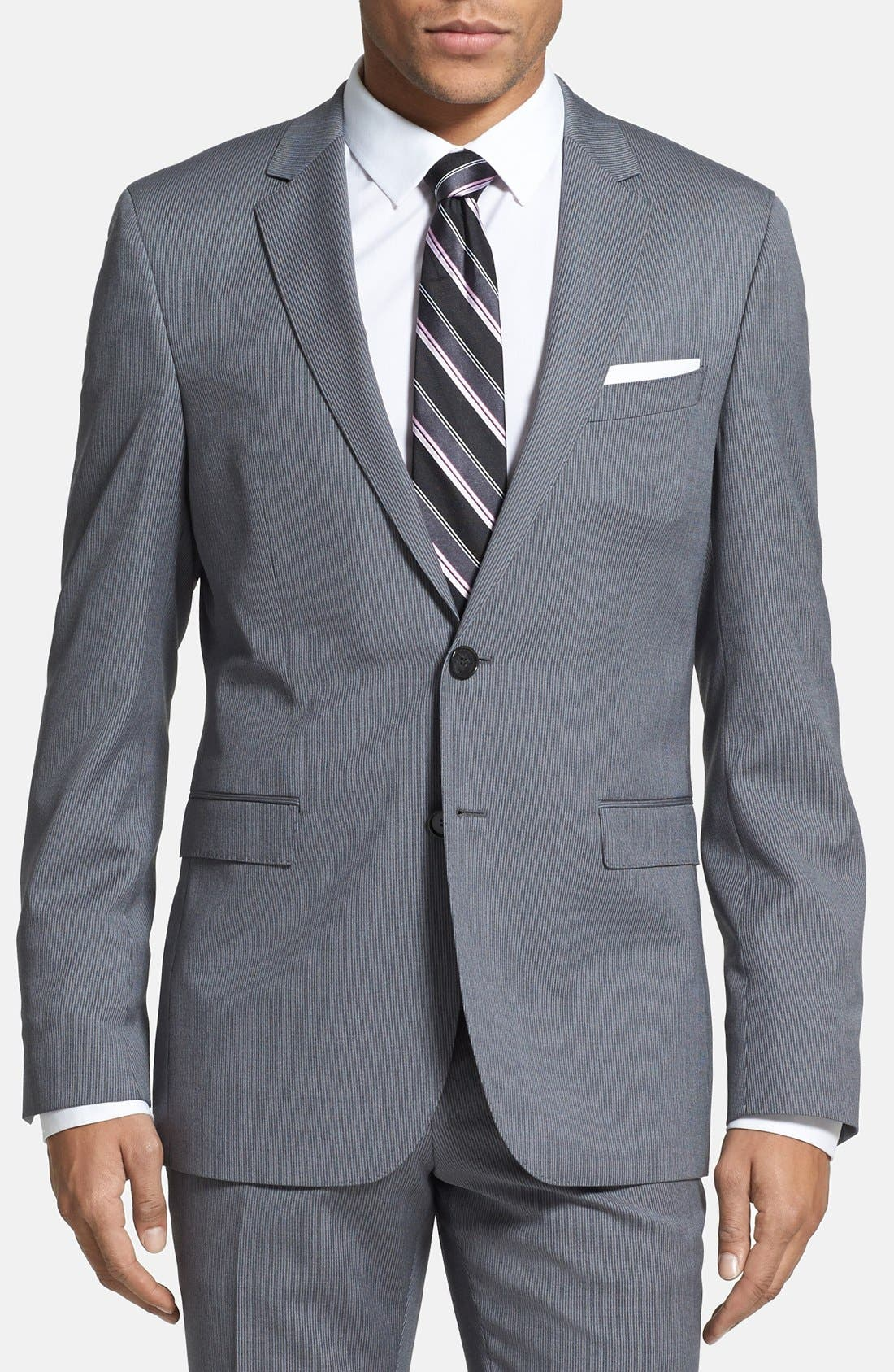 ZZDNUHUGO BOSS,                             BOSS HUGO BOSS 'Ryan/Win' Extra Trim Fit Stripe Suit,                             Alternate thumbnail 6, color,                             030
