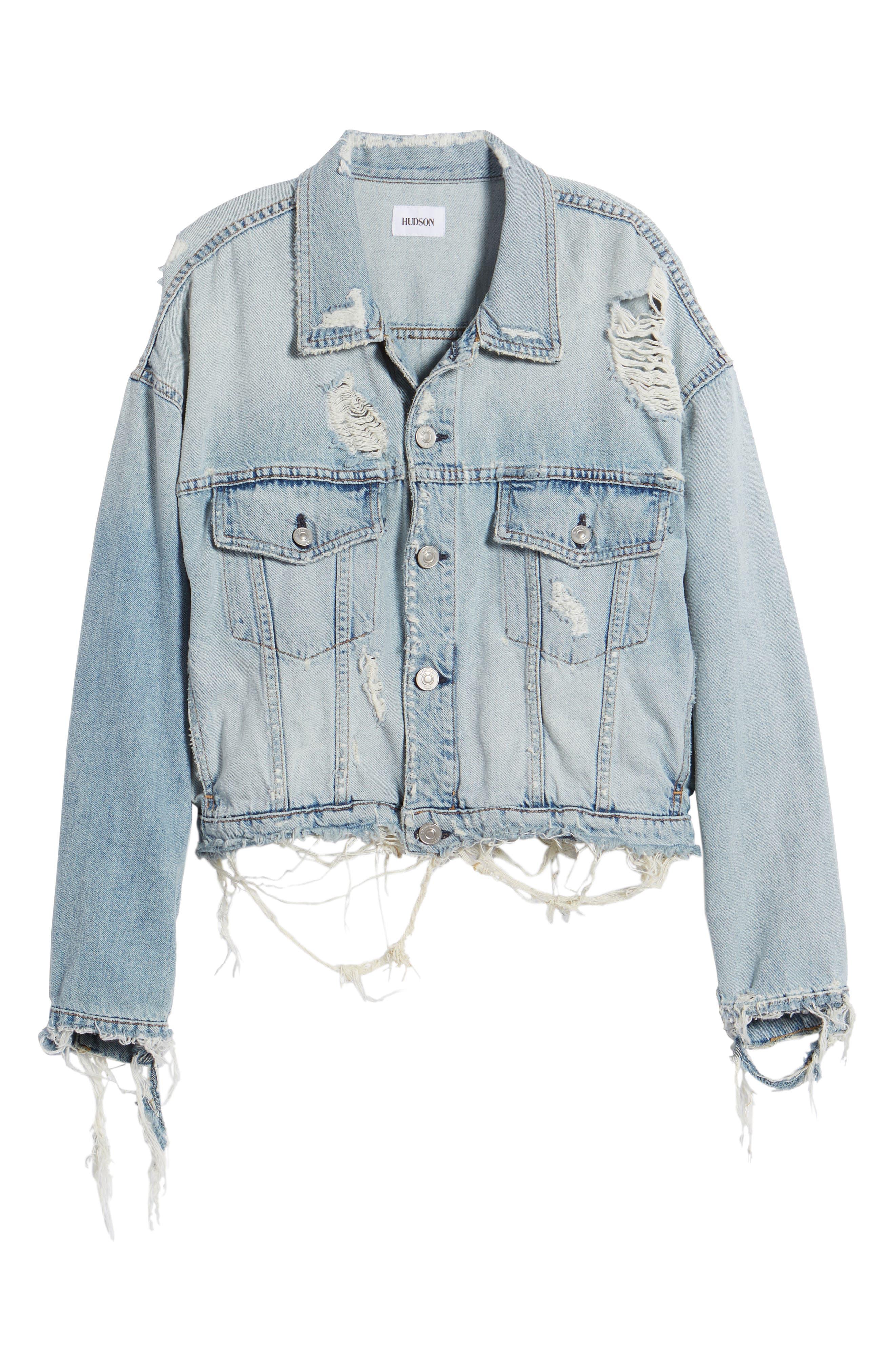 Rei Distressed Crop Denim Jacket,                             Alternate thumbnail 6, color,                             453