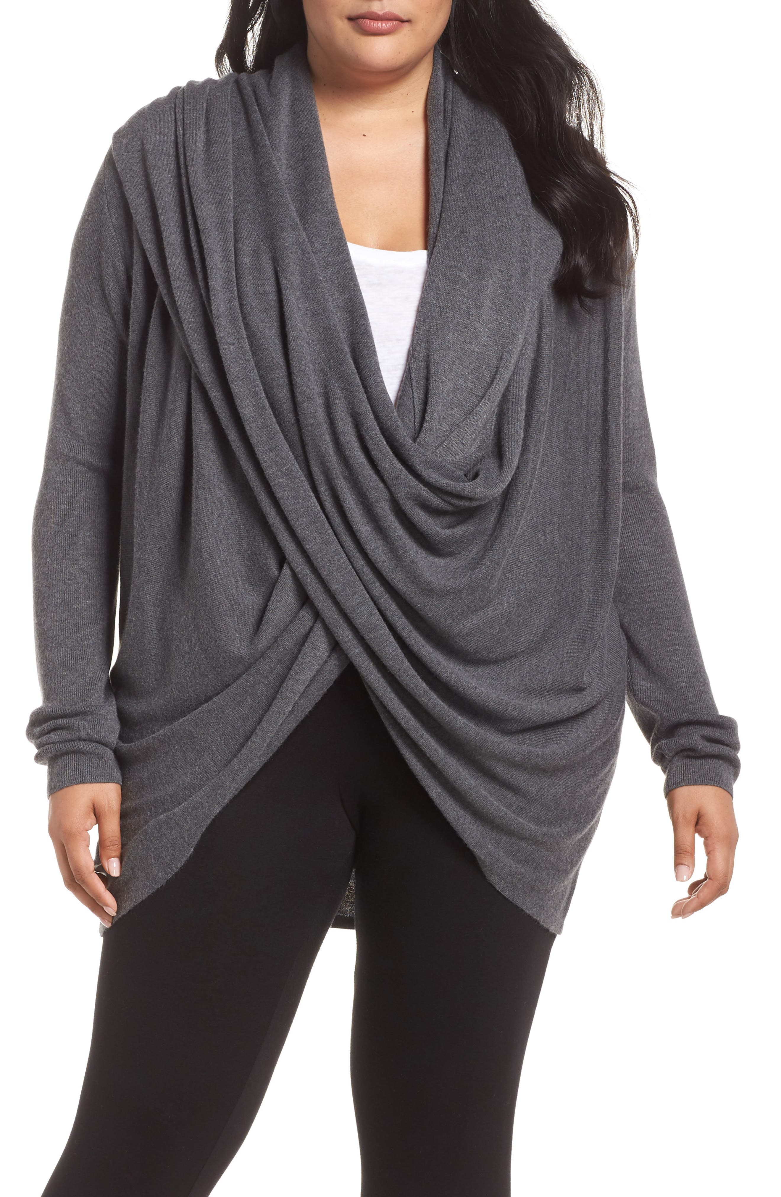 Wrap Front Cardigan,                         Main,                         color, DARK STEEL HEATHER