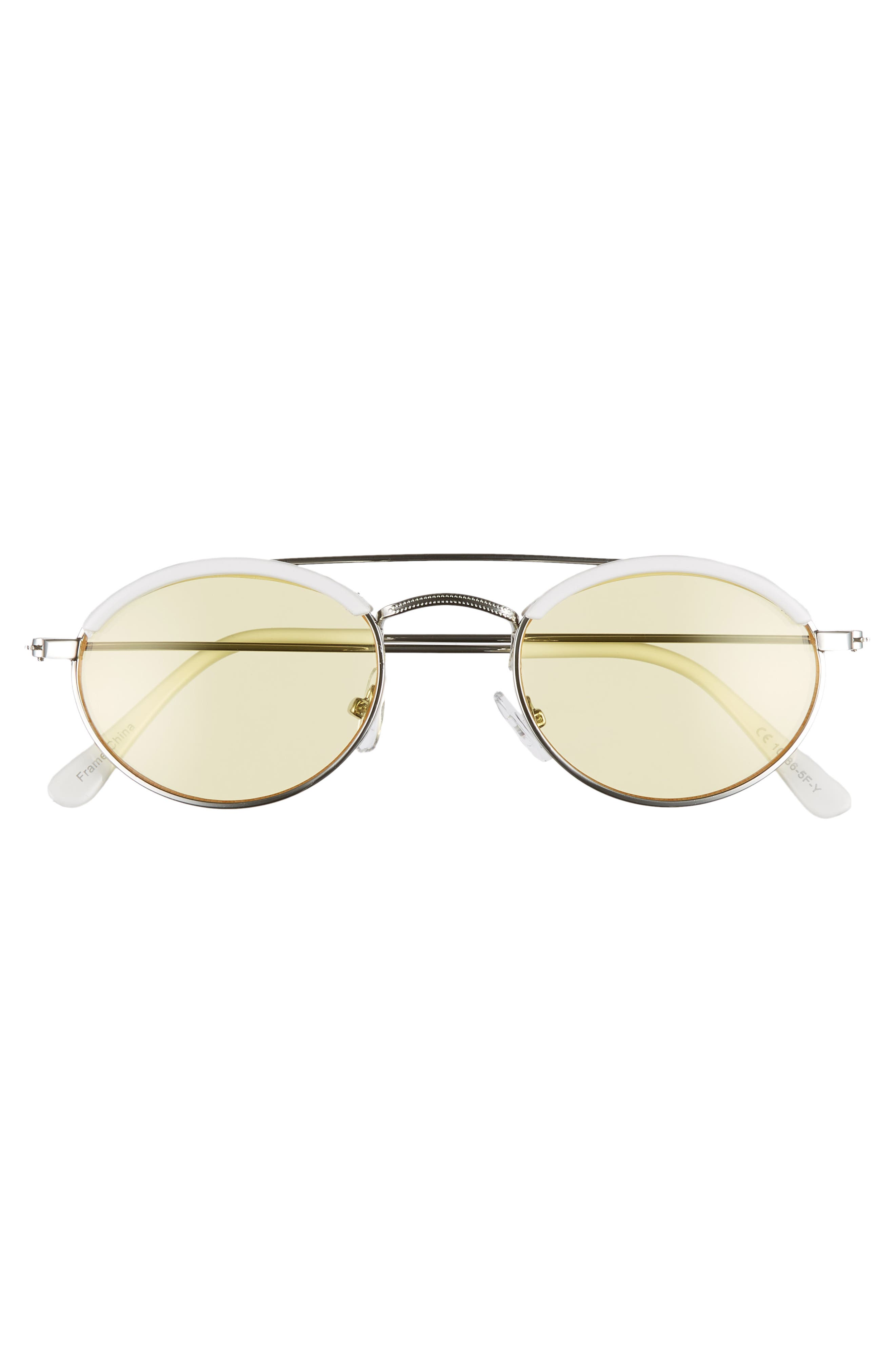 50mm Round Sunglasses,                             Alternate thumbnail 3, color,                             WHITE/ YELLOW