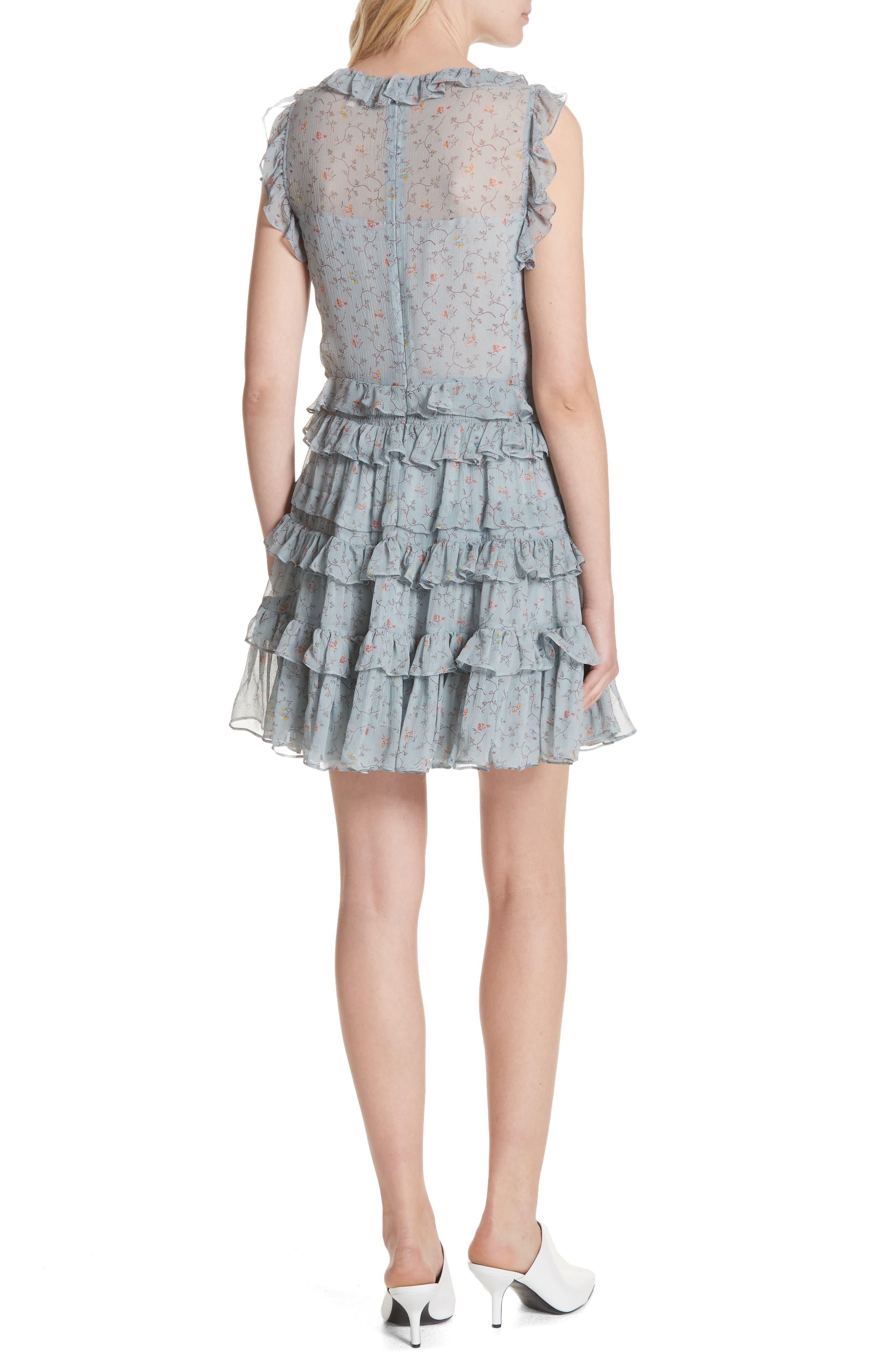Floral Vine Ruffle Silk Dress,                             Alternate thumbnail 2, color,                             400
