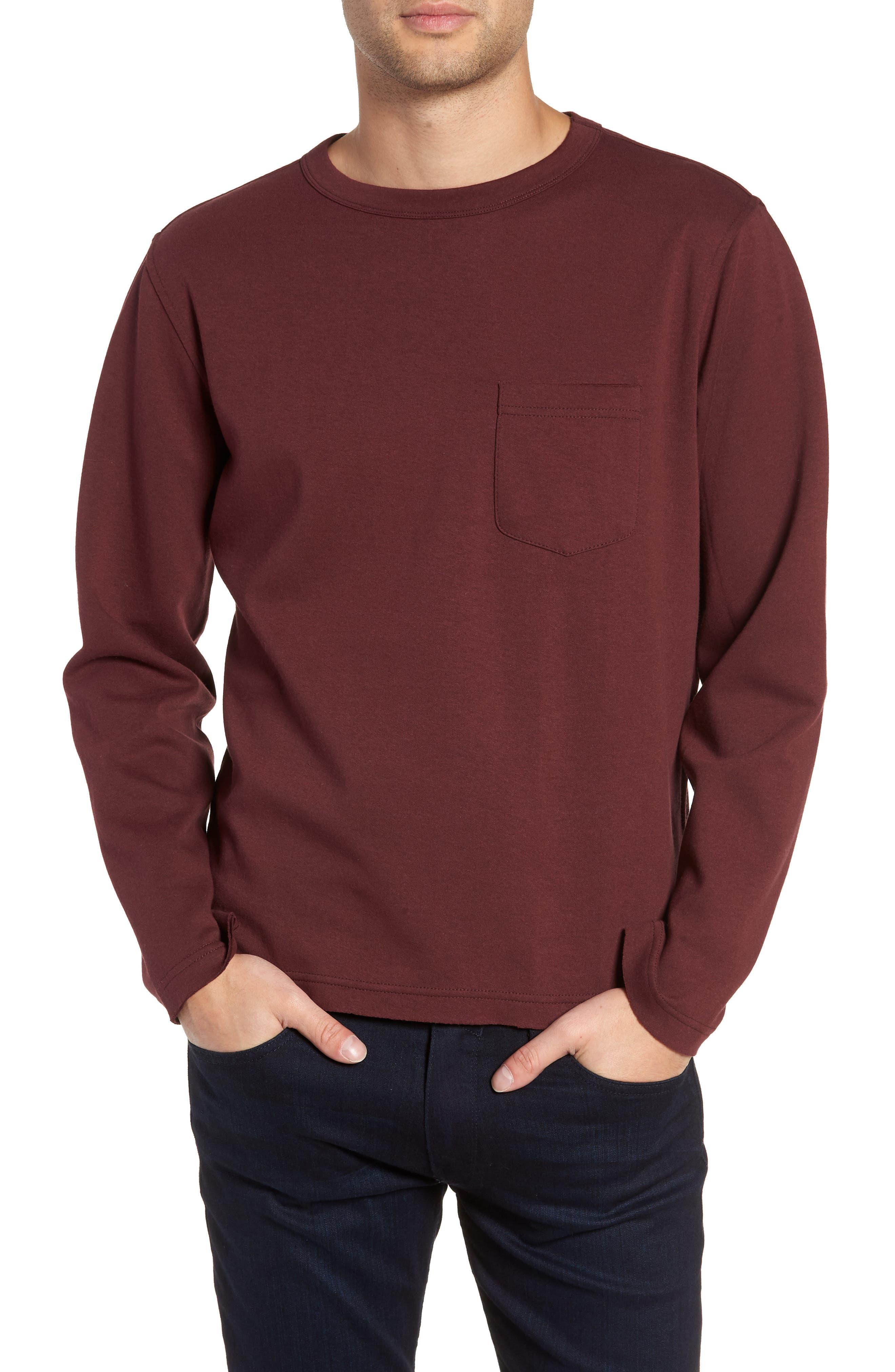 Twentymetrictons Trim Fit Long Sleeve Pocket T-Shirt, Red