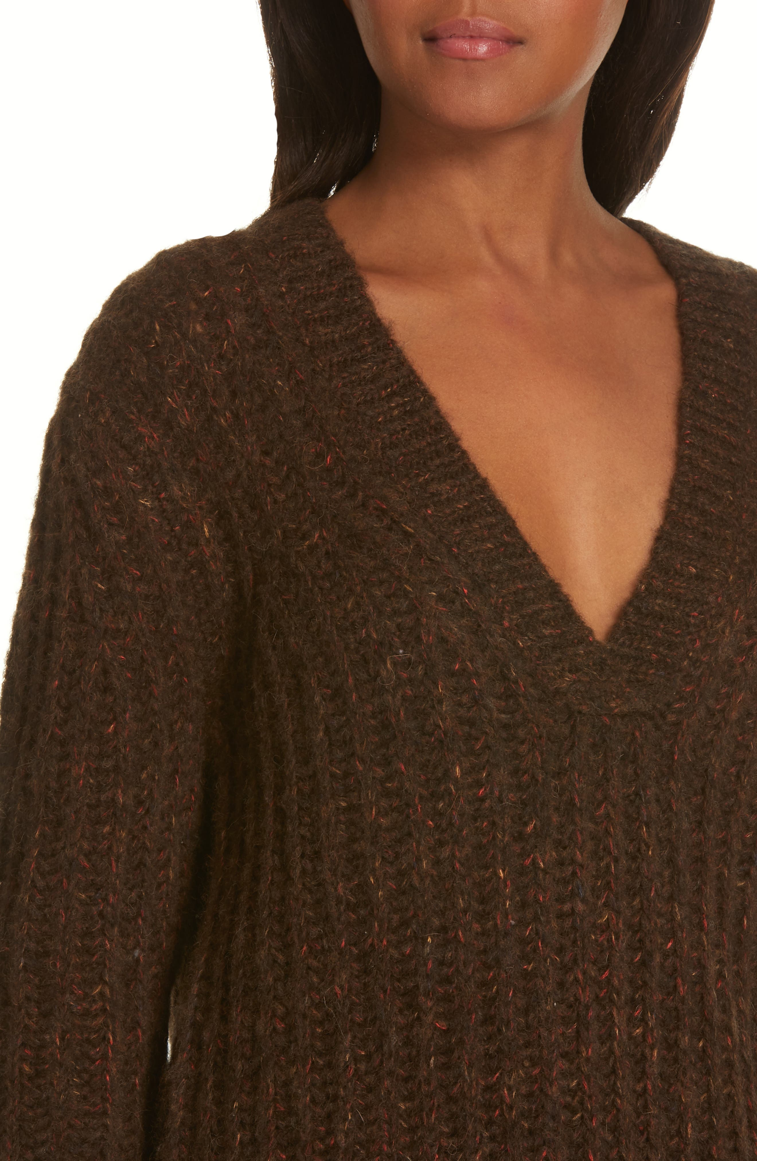 Oversize V-Neck Sweater,                             Alternate thumbnail 4, color,                             BROWN / RED