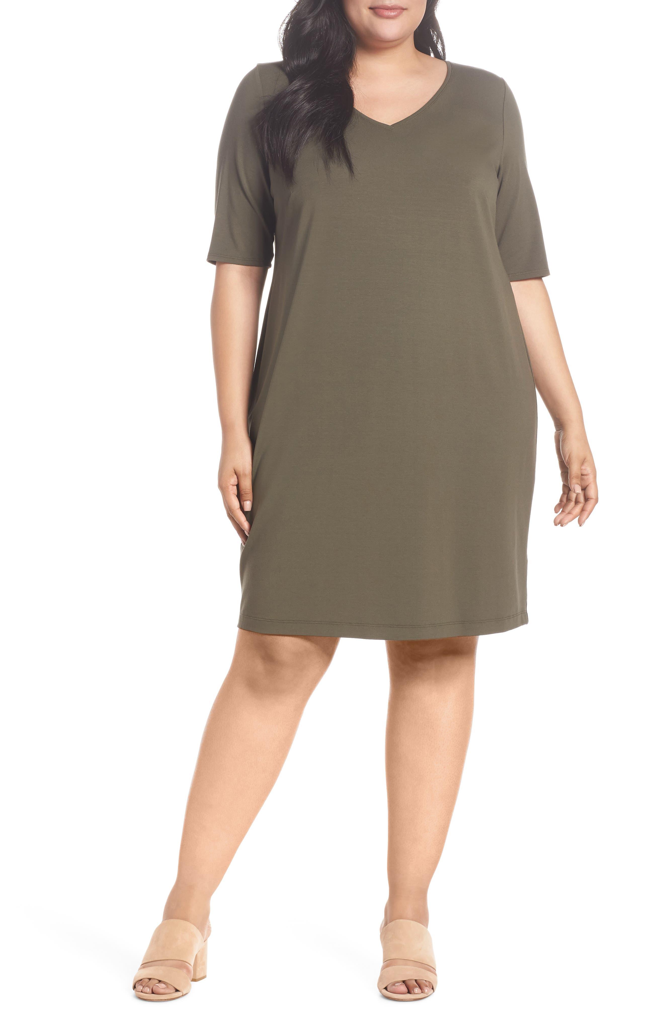 V-Neck Stretch Jersey Shift Dress,                             Main thumbnail 2, color,