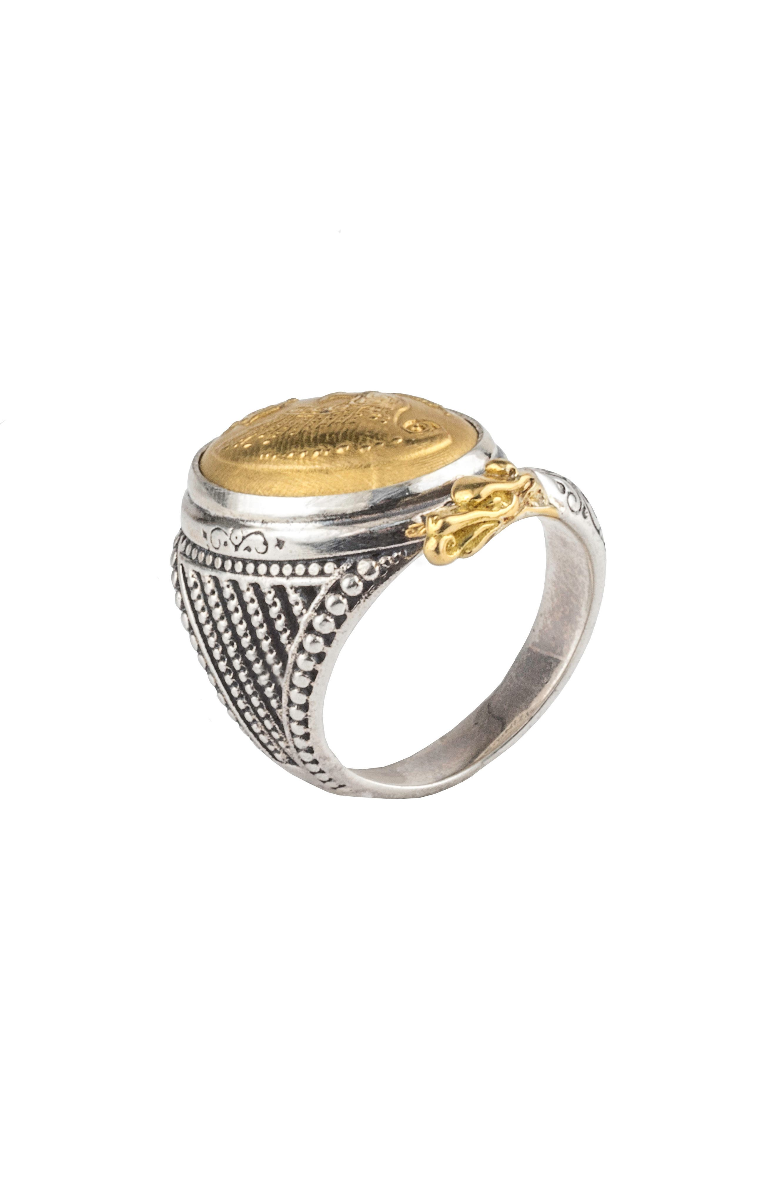 Gaia Dome Ring,                             Alternate thumbnail 2, color,                             SILVER/ GOLD
