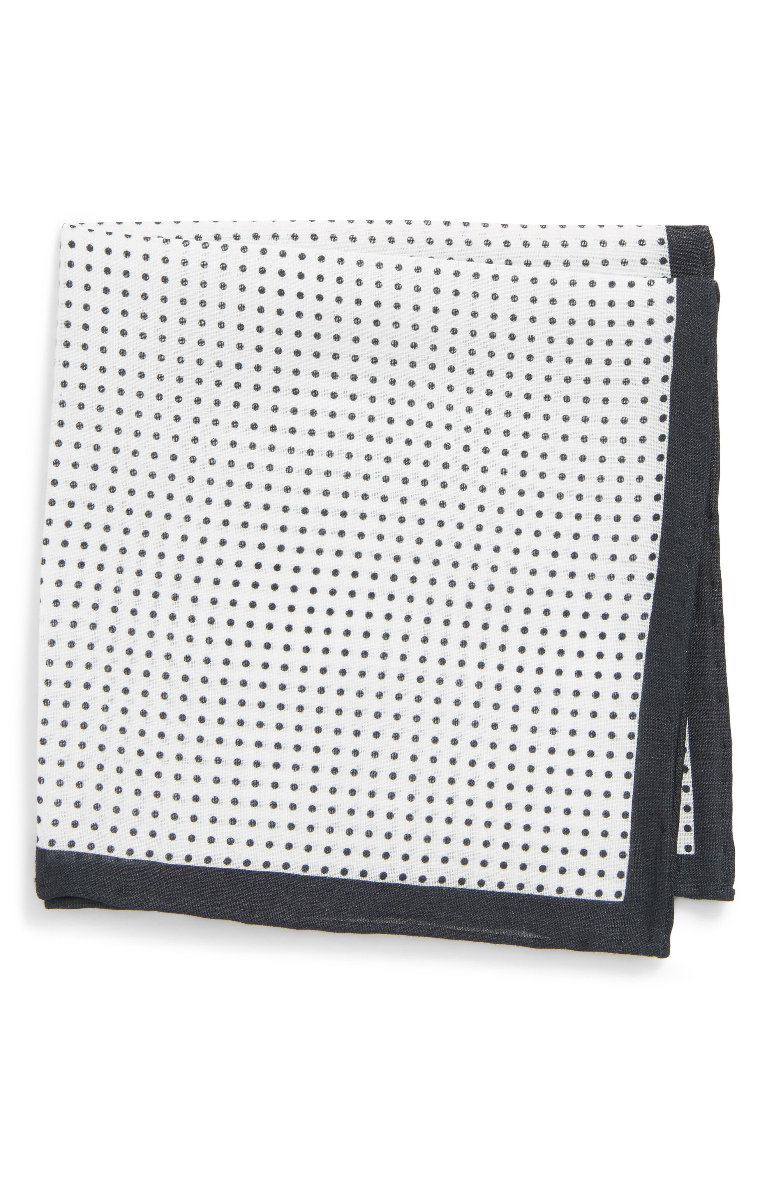 Domino Dot Linen Pocket Square,                         Main,                         color, 001