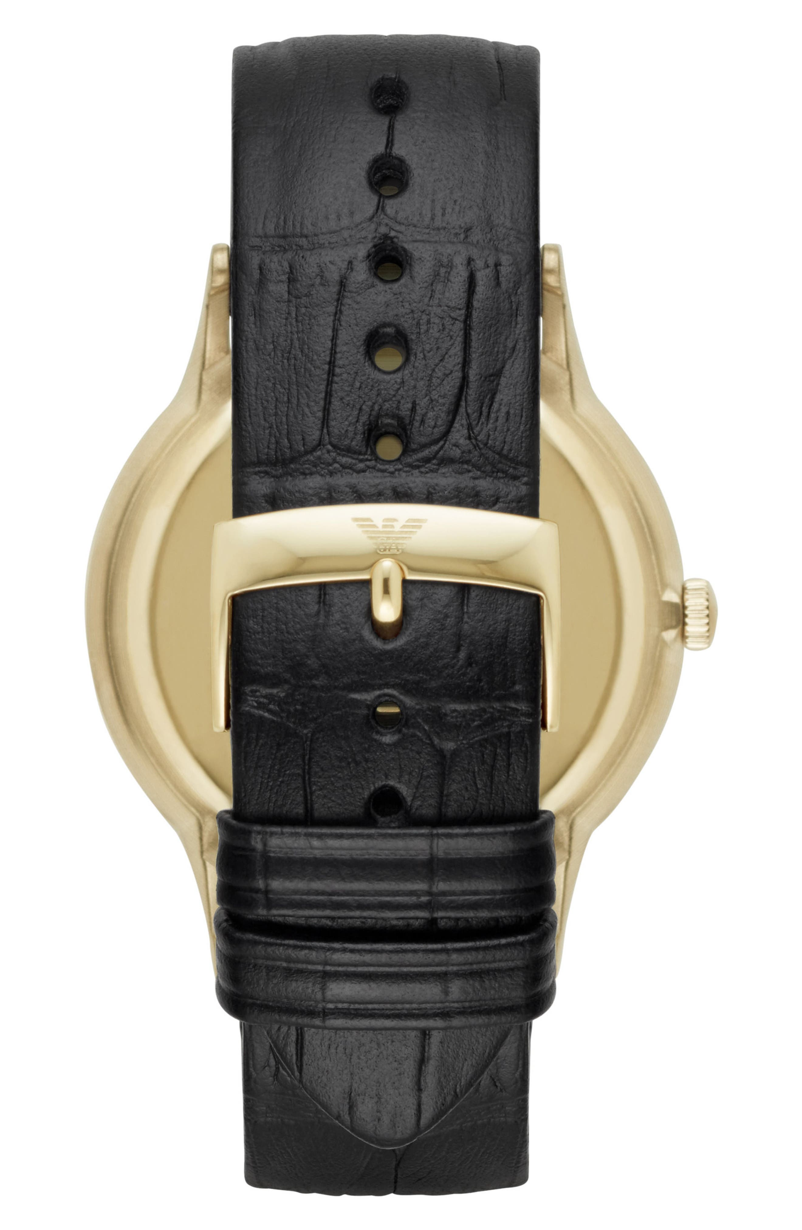 Slim Croc Embossed Leather Strap Watch, 43mm,                             Alternate thumbnail 2, color,                             001