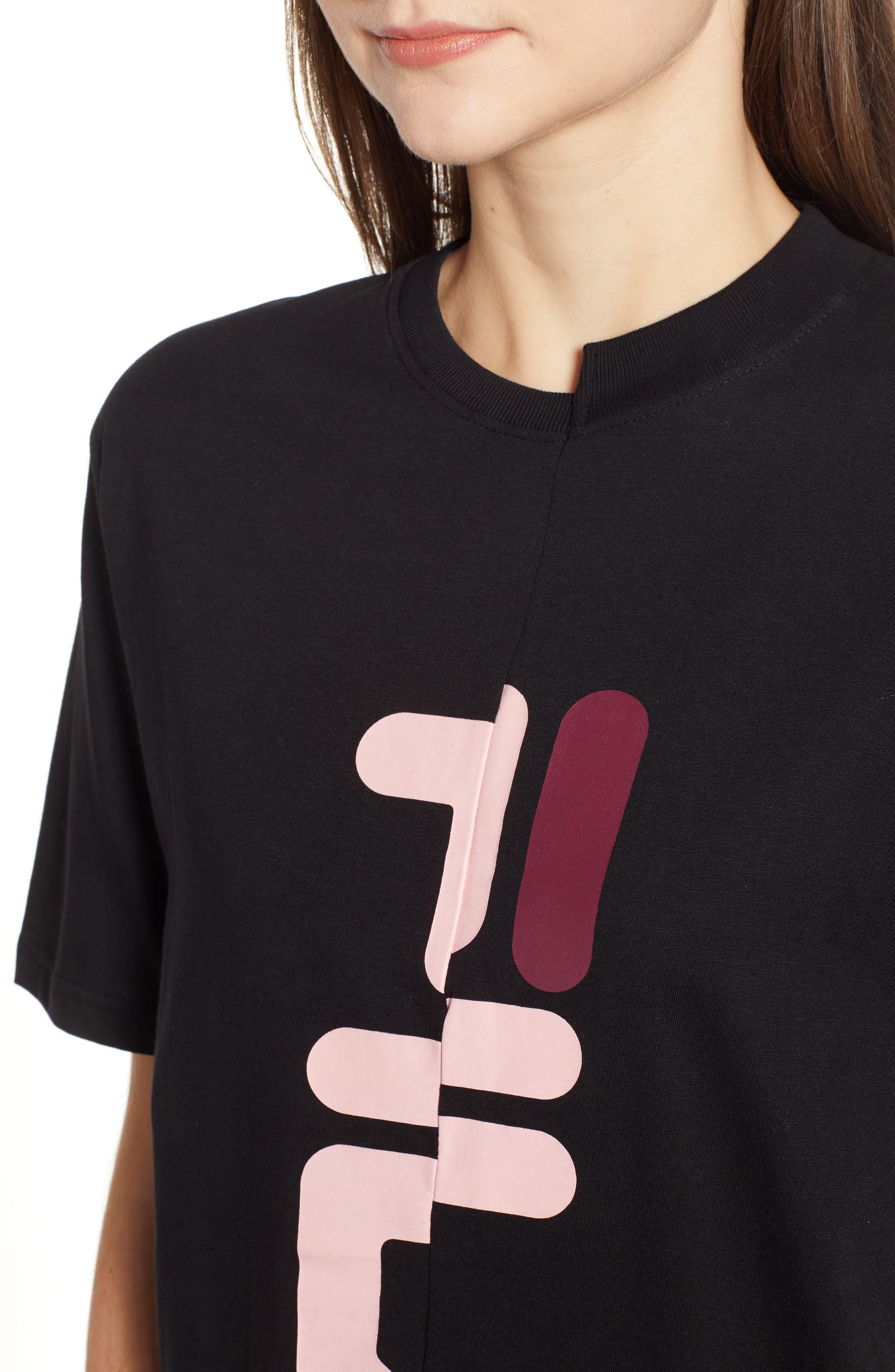 Teresa Spliced Tee,                             Alternate thumbnail 4, color,                             BLACK/ PINK/RED