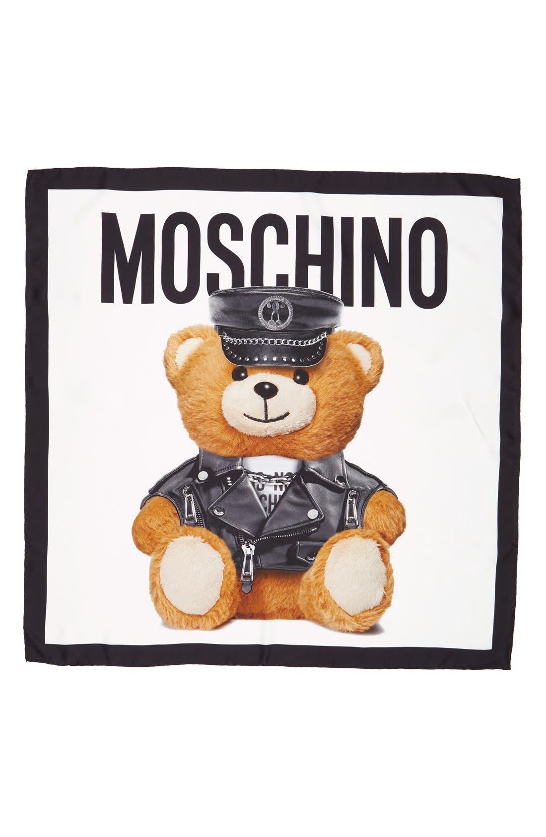 'Bear' Square Silk Scarf, Main, color, 100