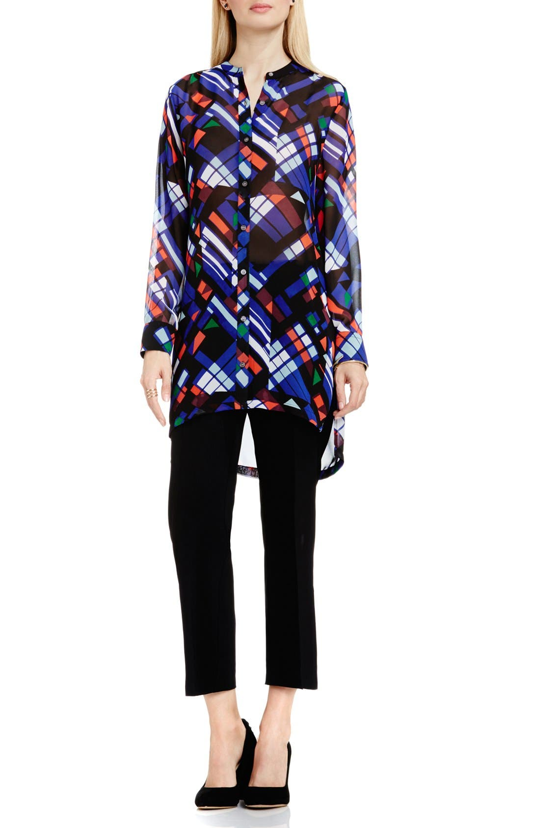 'Graphic Map' Band Collar Tunic Blouse,                             Alternate thumbnail 2, color,                             006