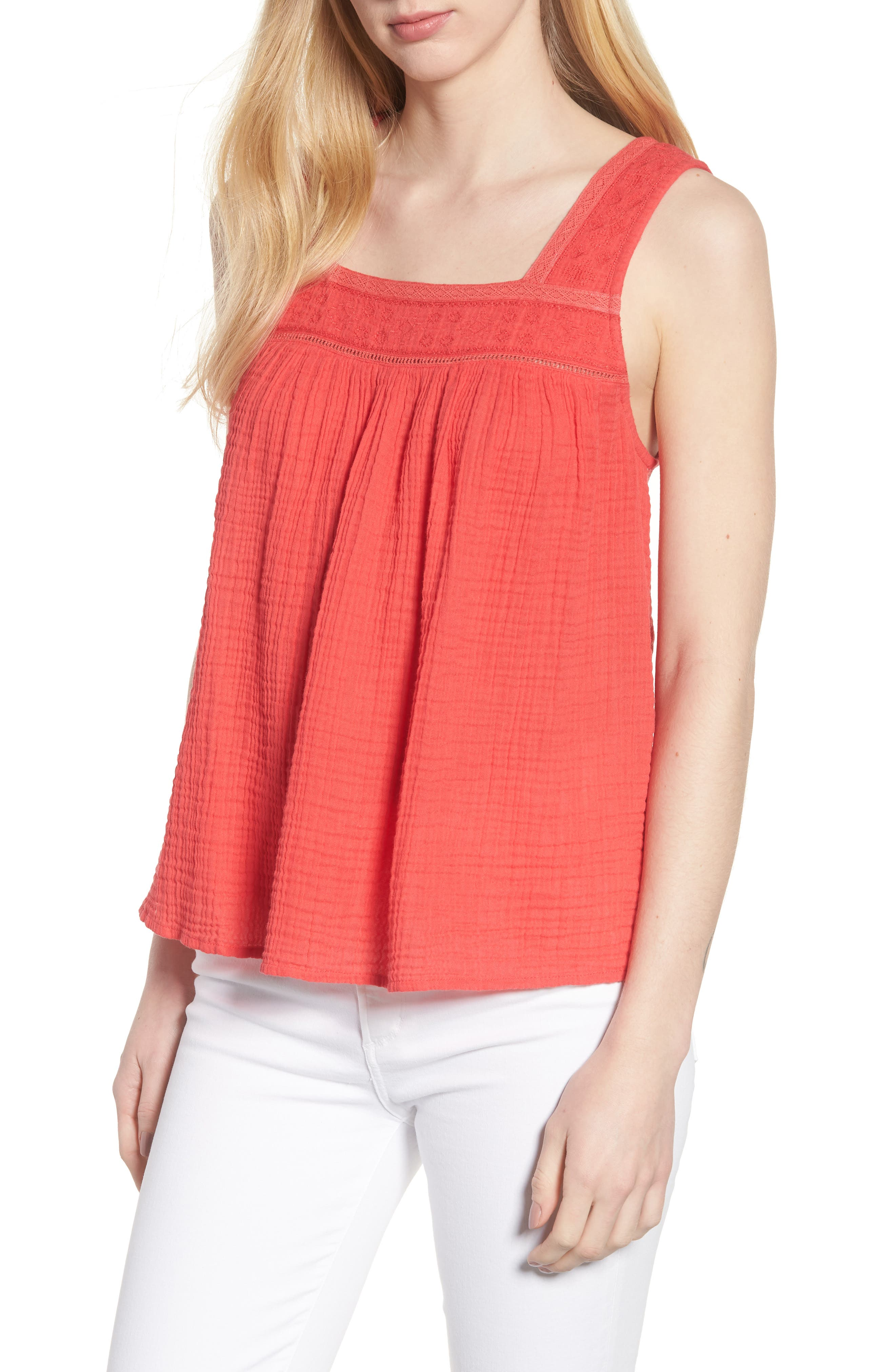 Embroidered Neck Swing Tank,                             Main thumbnail 1, color,