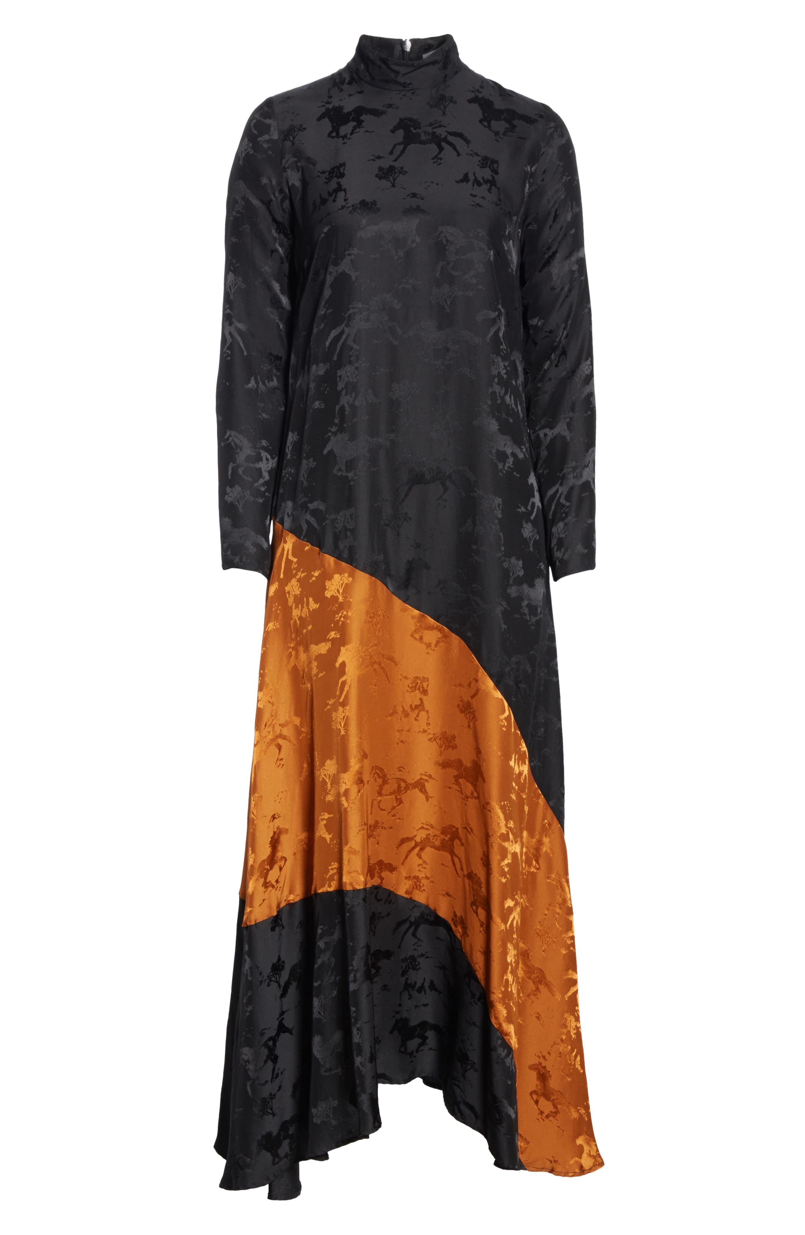 Silk Jacquard Dress,                             Alternate thumbnail 7, color,                             BLACK 099