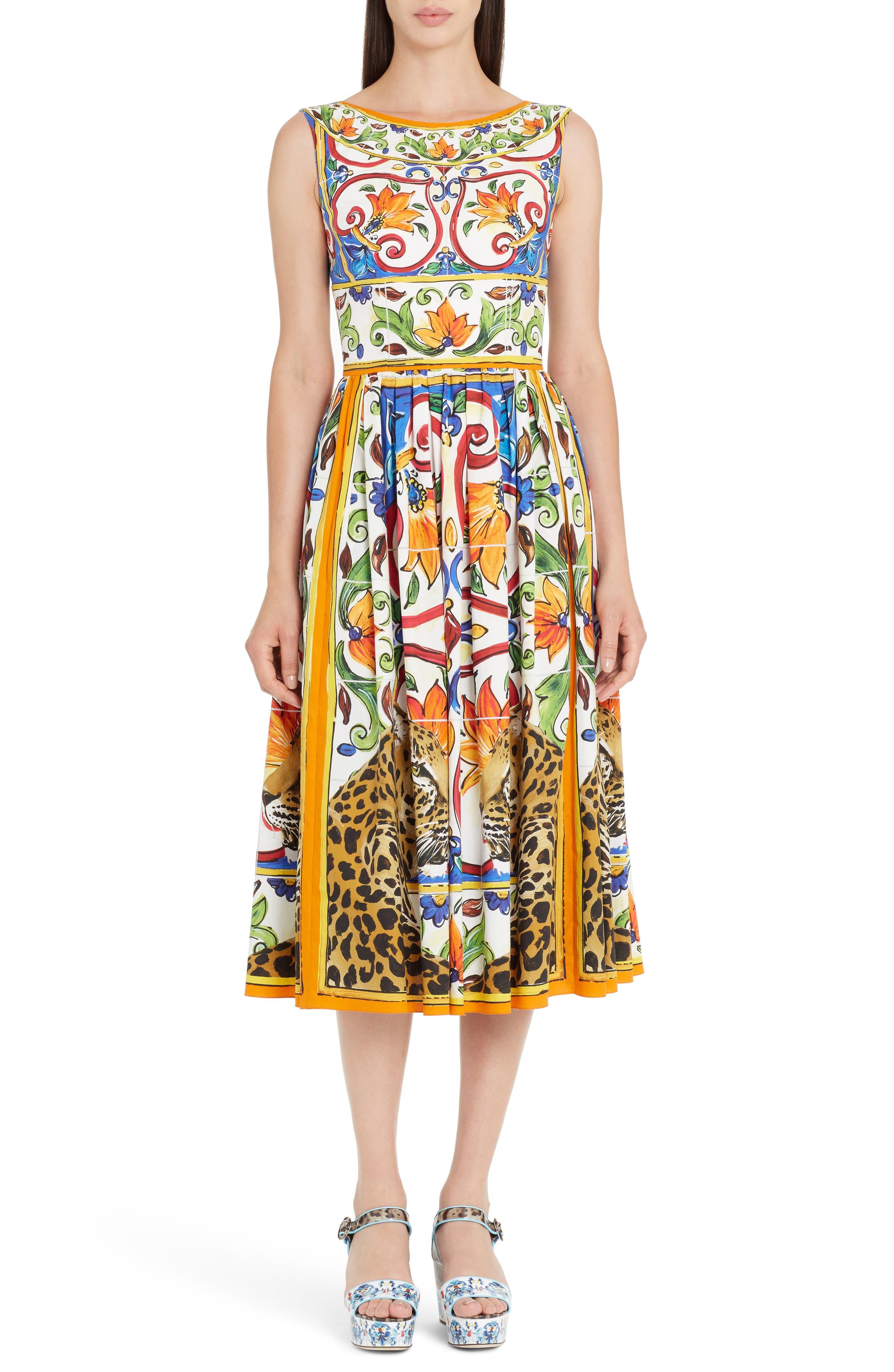 Maiolica Print Fit & Flare Dress,                             Main thumbnail 1, color,                             115