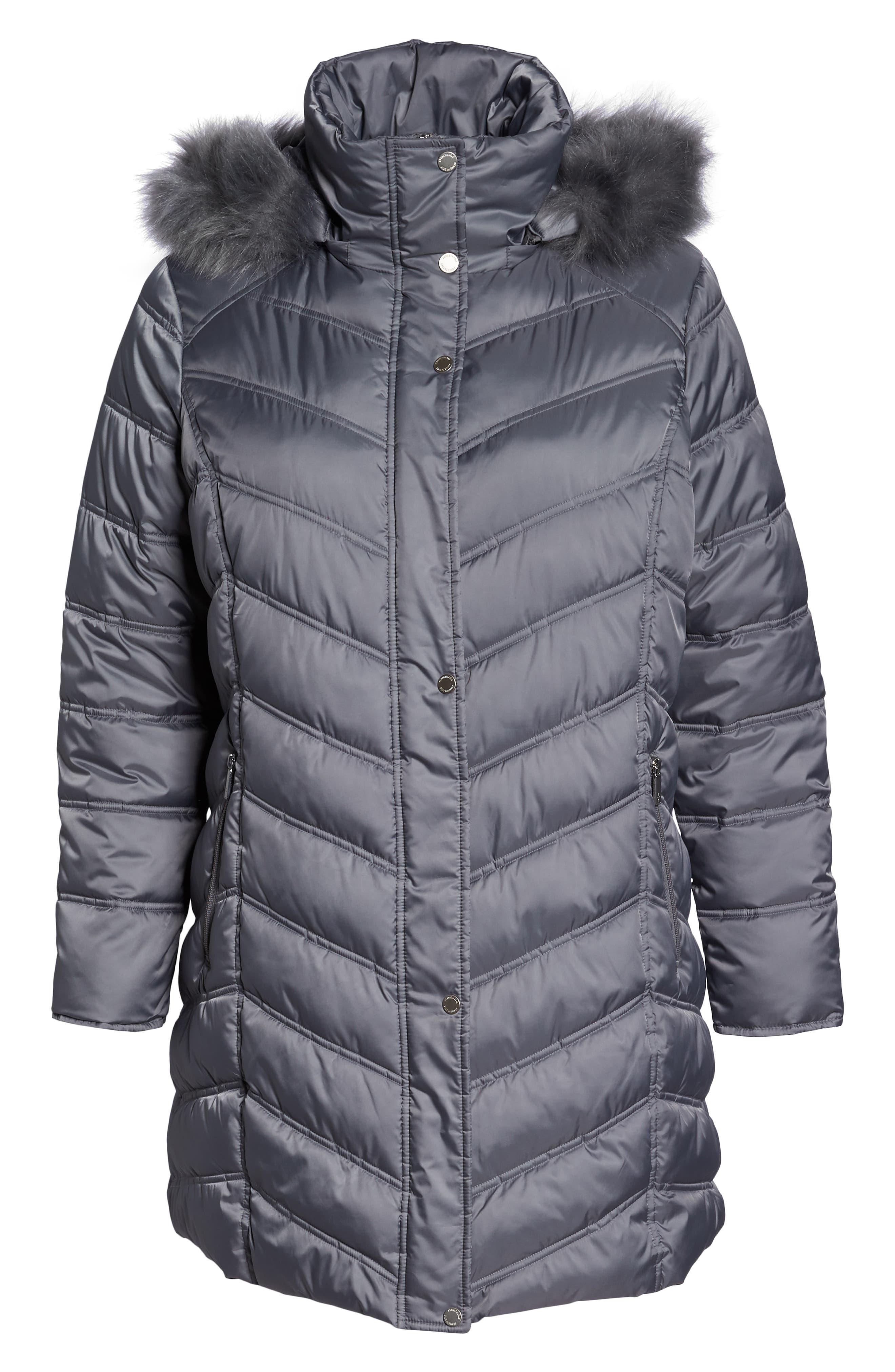 Faux Fur Trim Puffer Jacket,                             Alternate thumbnail 6, color,                             085