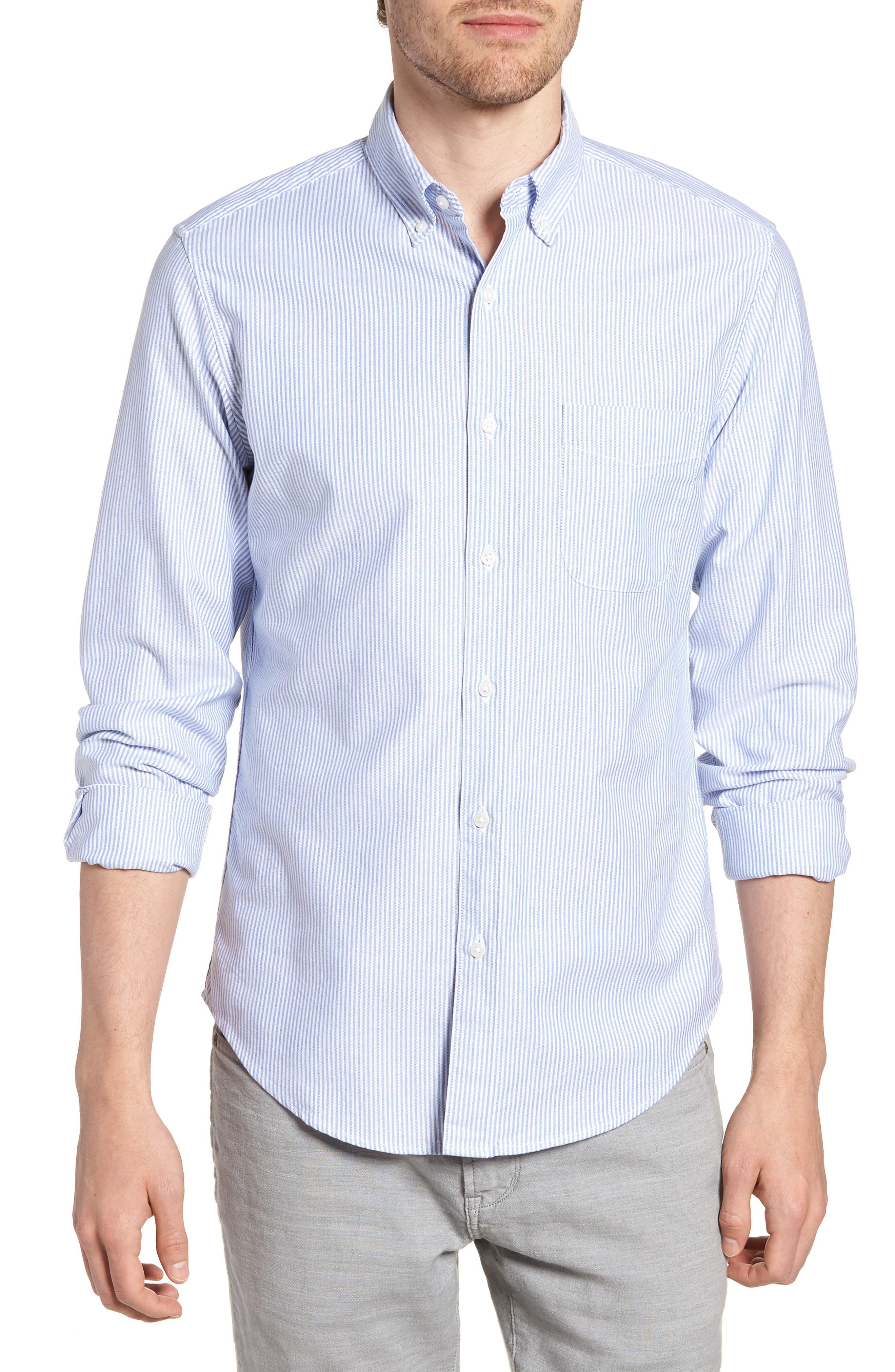 Slim Fit Stretch Stripe Pima Cotton Oxford Shirt,                             Main thumbnail 1, color,                             400