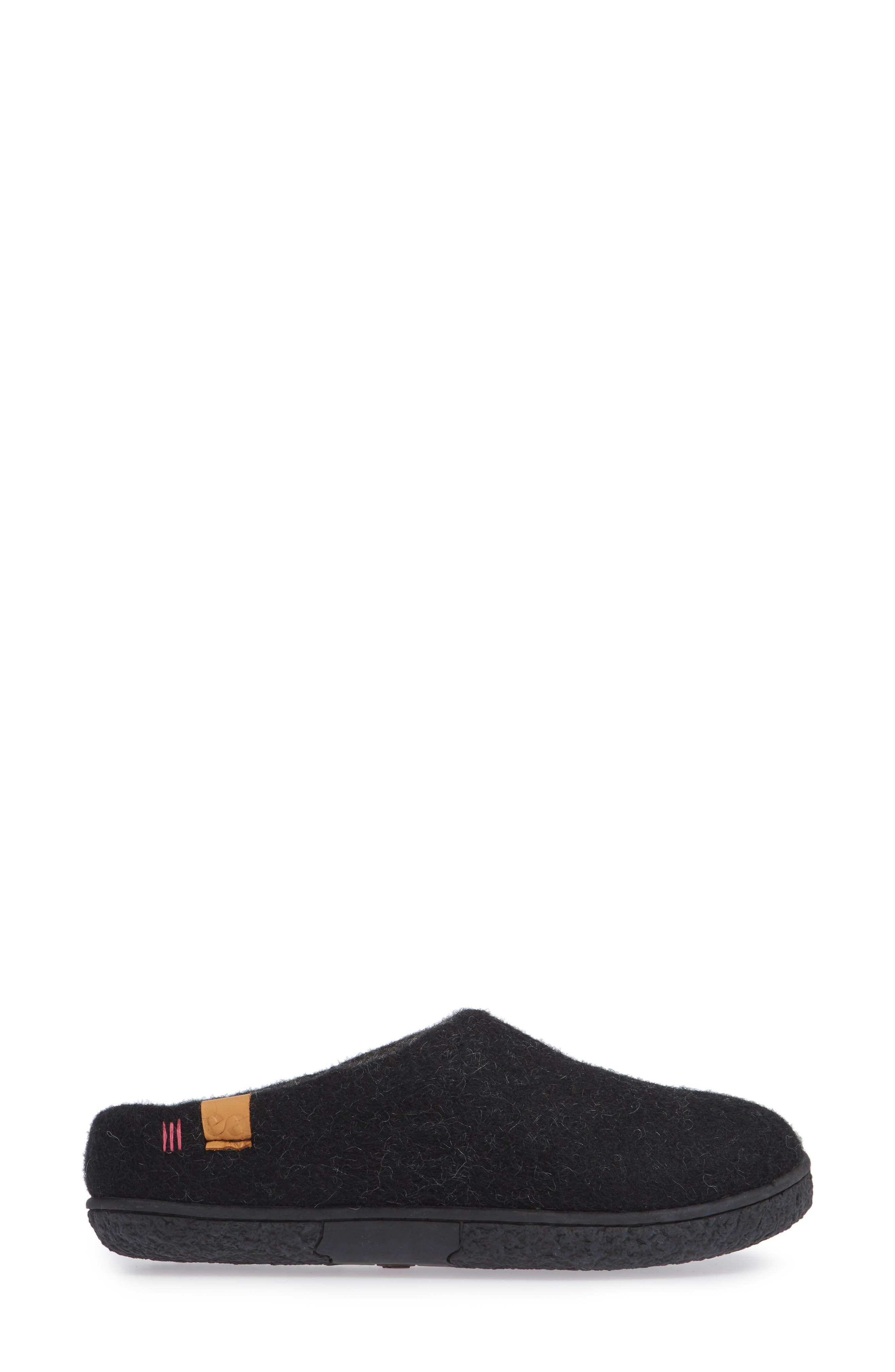 Tibet Wool Slipper,                             Alternate thumbnail 3, color,                             BLACK WOOL