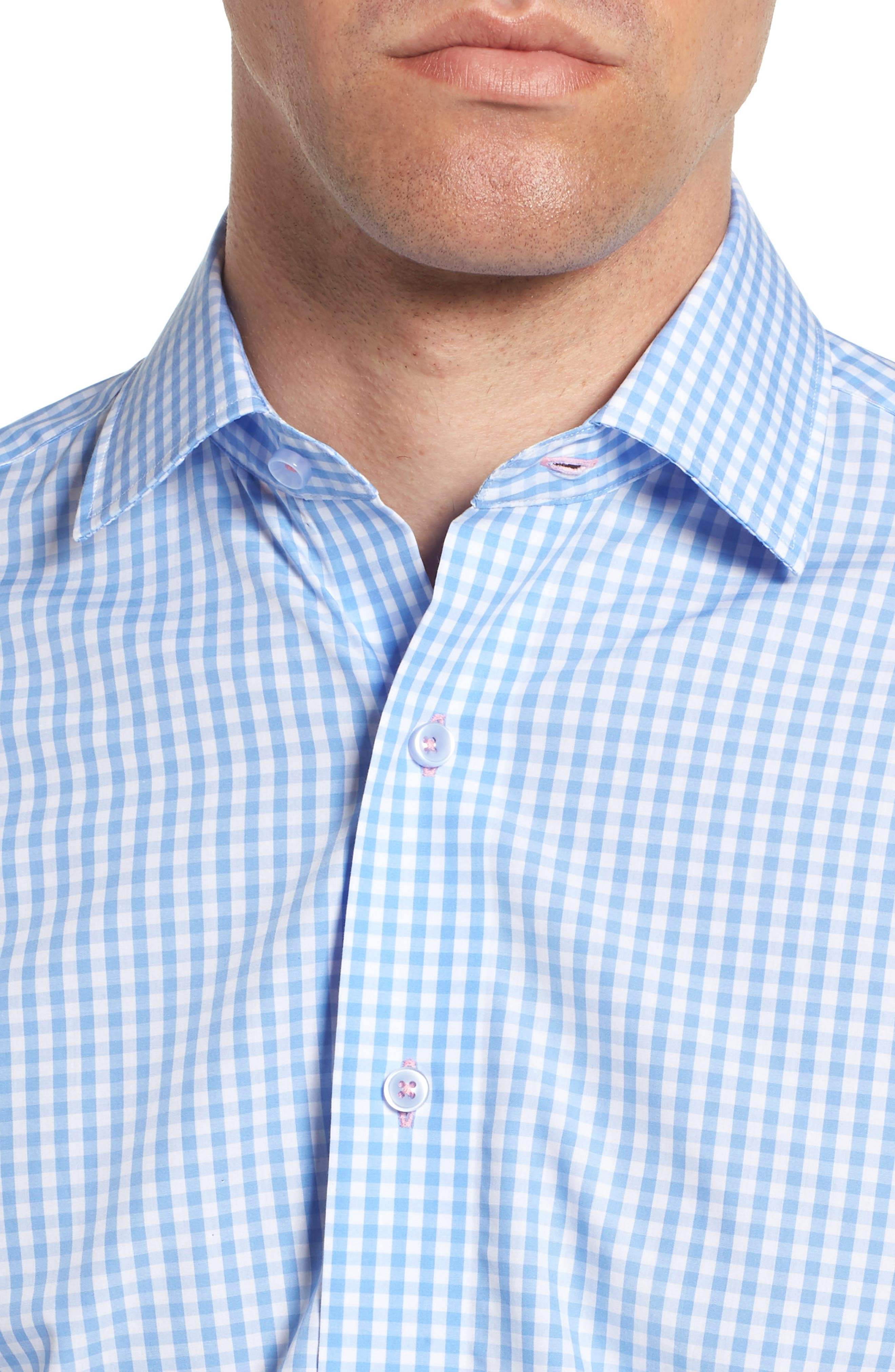 Trim Fit Check Dress Shirt,                             Alternate thumbnail 2, color,                             LIGHT BLUE