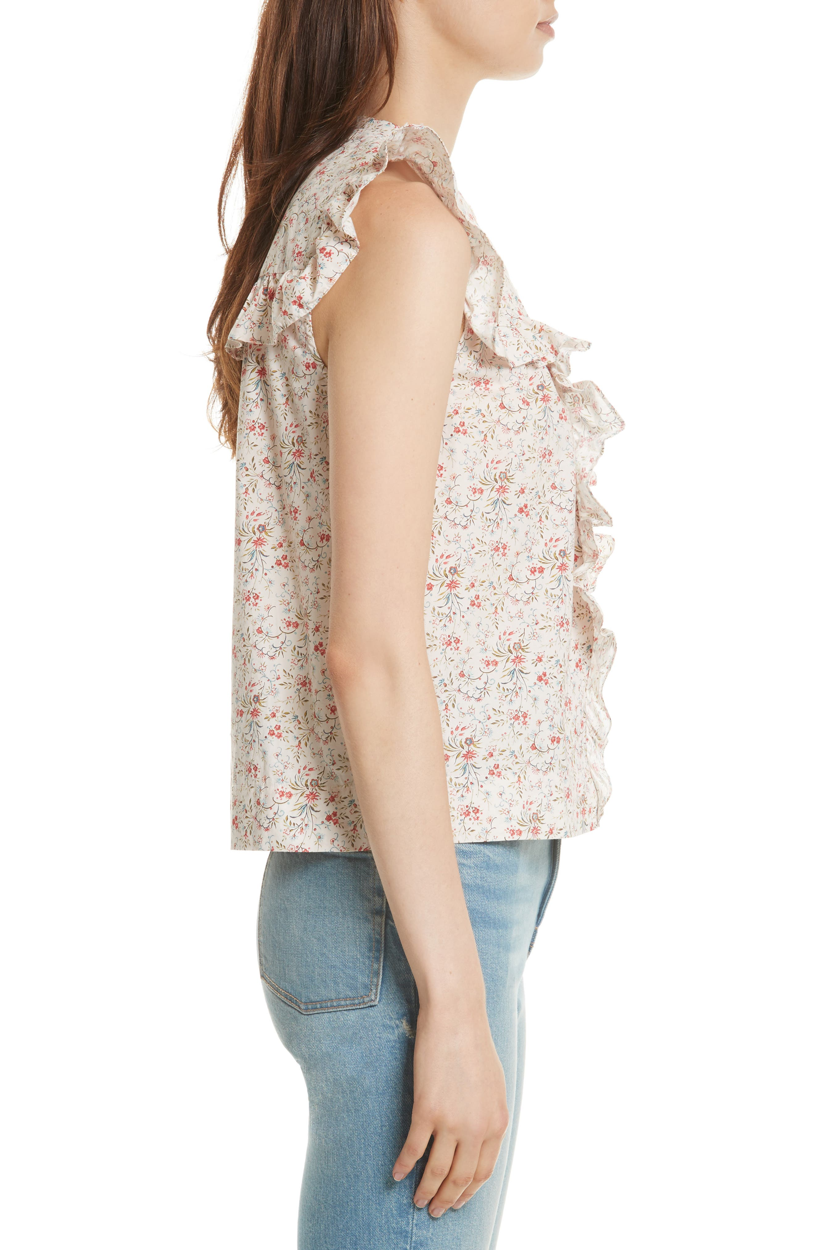 Brittany Sleeveless Floral Blouse,                             Alternate thumbnail 3, color,                             902