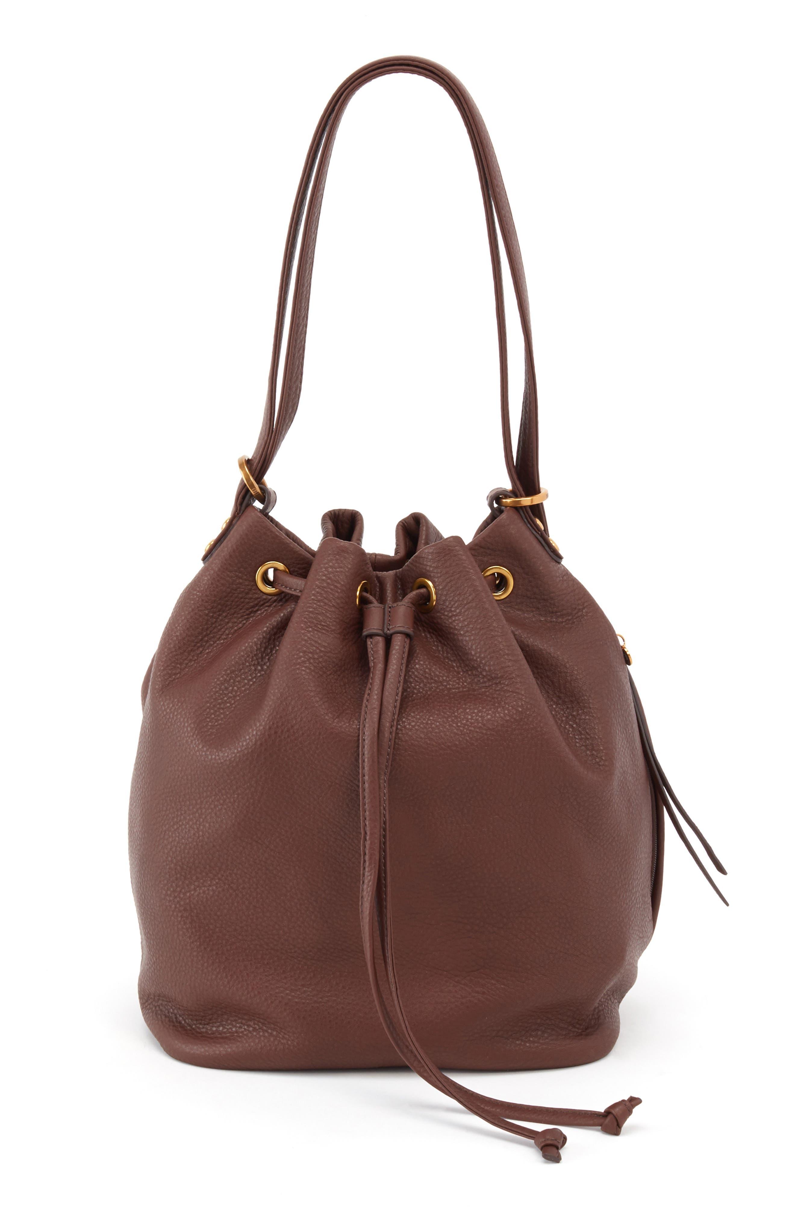 Brandish Convertible Bucket Bag,                         Main,                         color, WALNUT