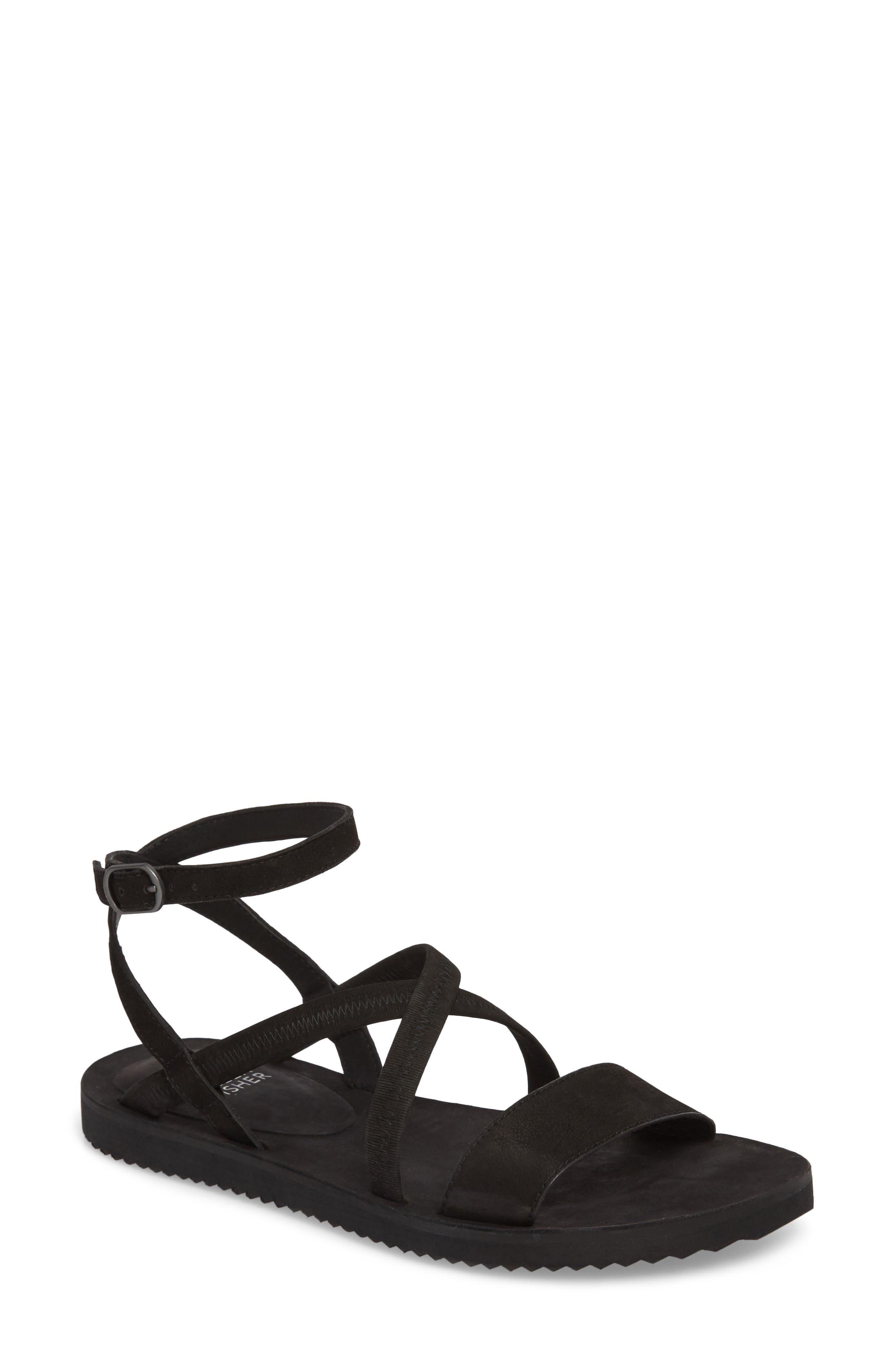 June Sandal,                         Main,                         color, BLACK NUBUCK