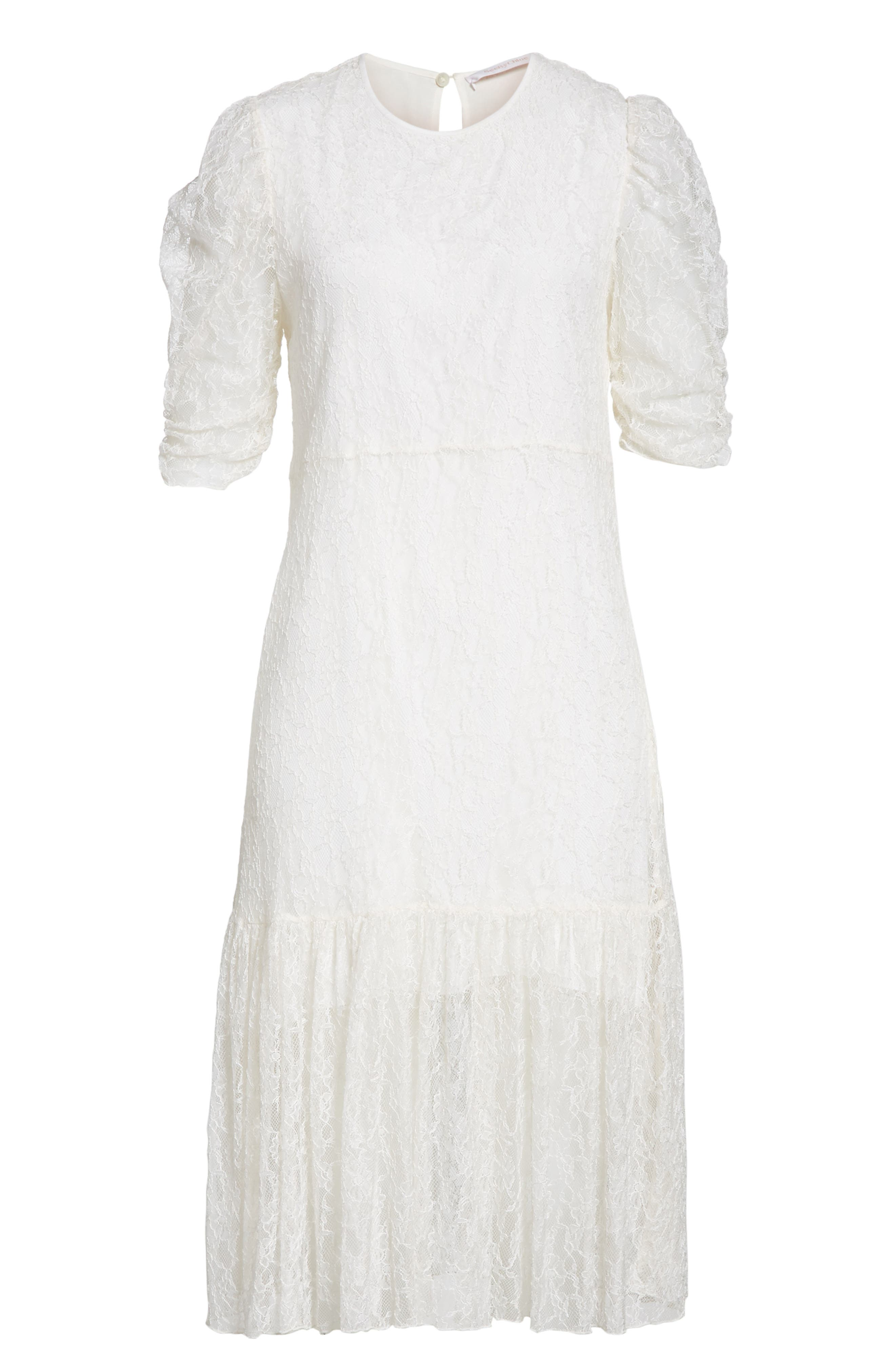 Lace Dress,                             Alternate thumbnail 6, color,                             WHITE