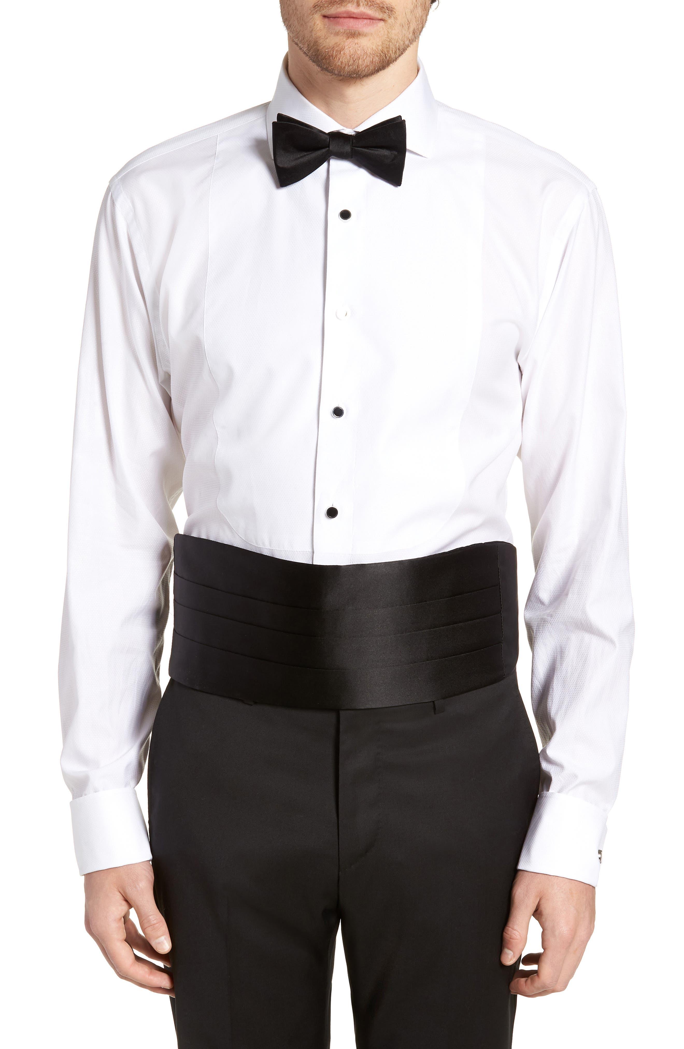 Silk Cummerbund & Pre-Tied Bow Tie Set,                         Main,                         color, BLACK