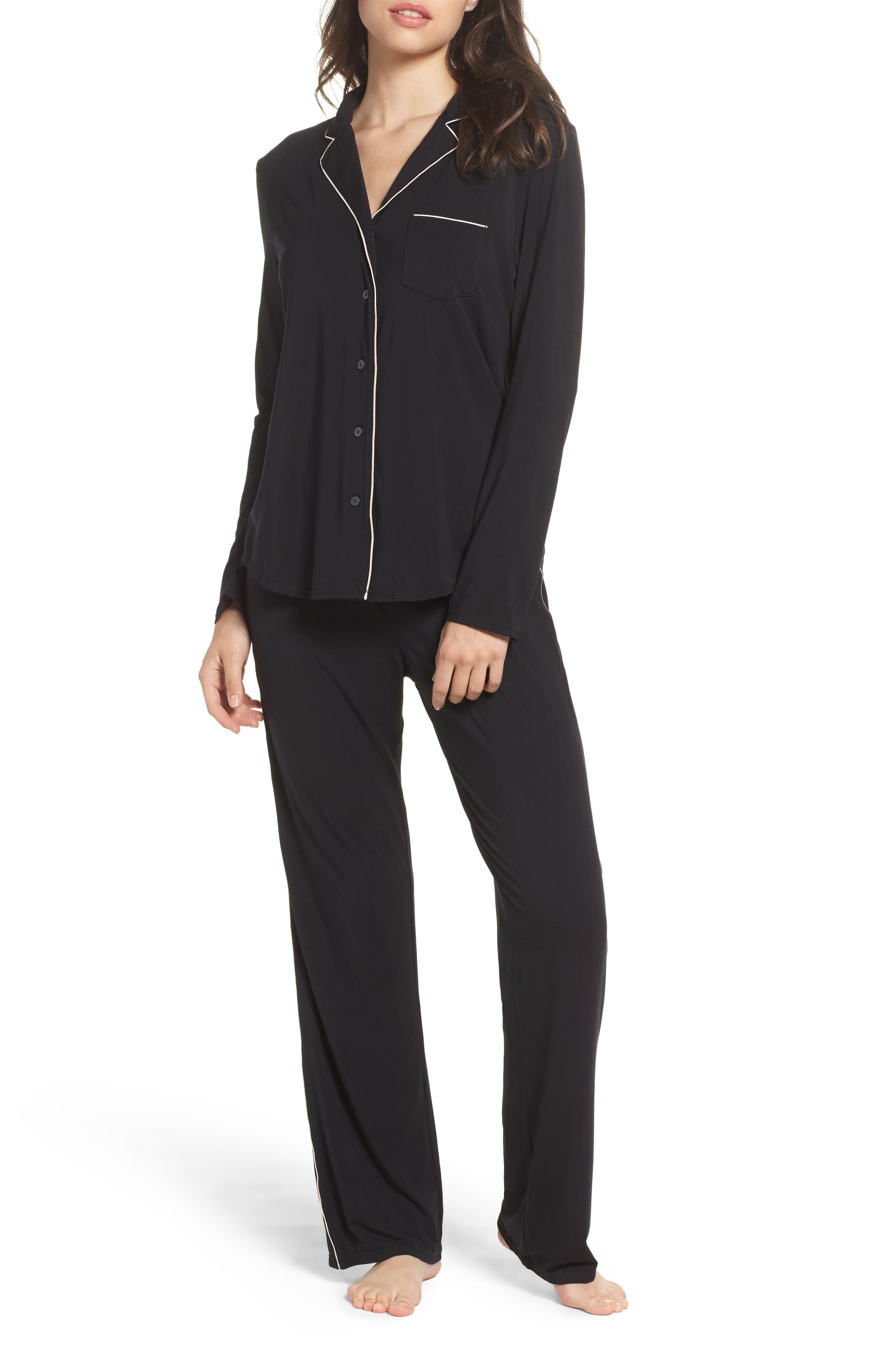Modal Pajamas,                             Main thumbnail 1, color,                             BLACK