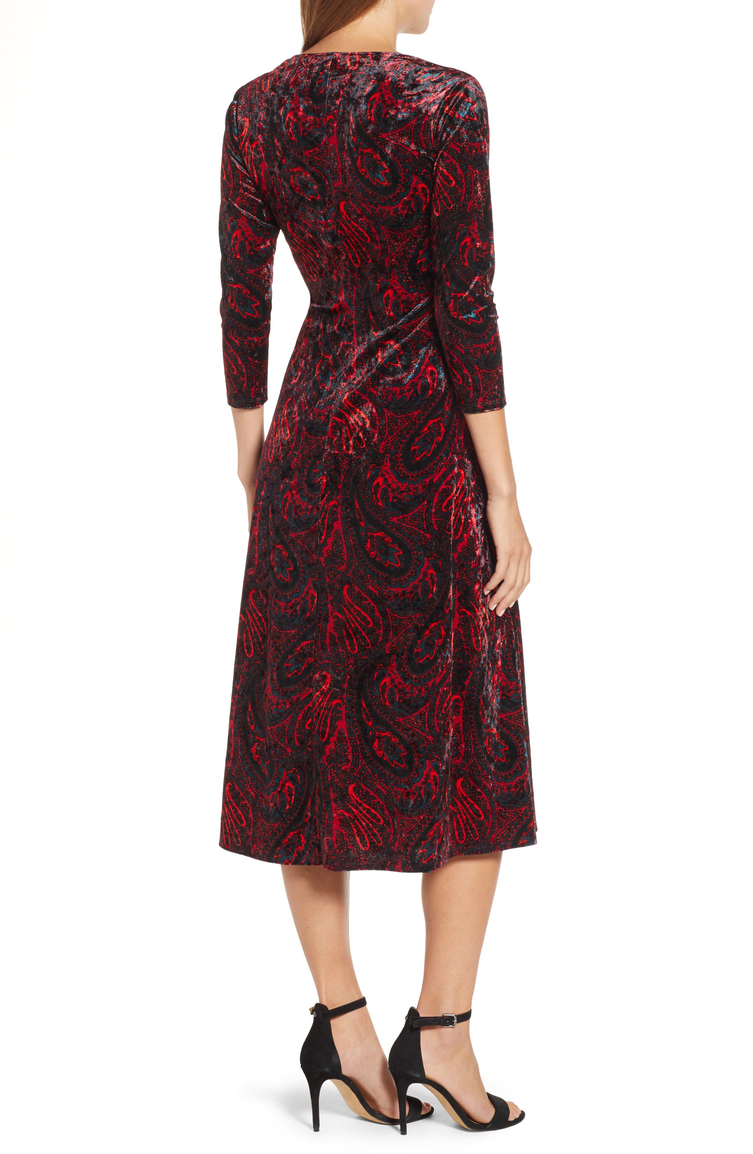 CHAUS,                             Paisley Velvet Faux Wrap Dress,                             Alternate thumbnail 2, color,                             RICH BLACK