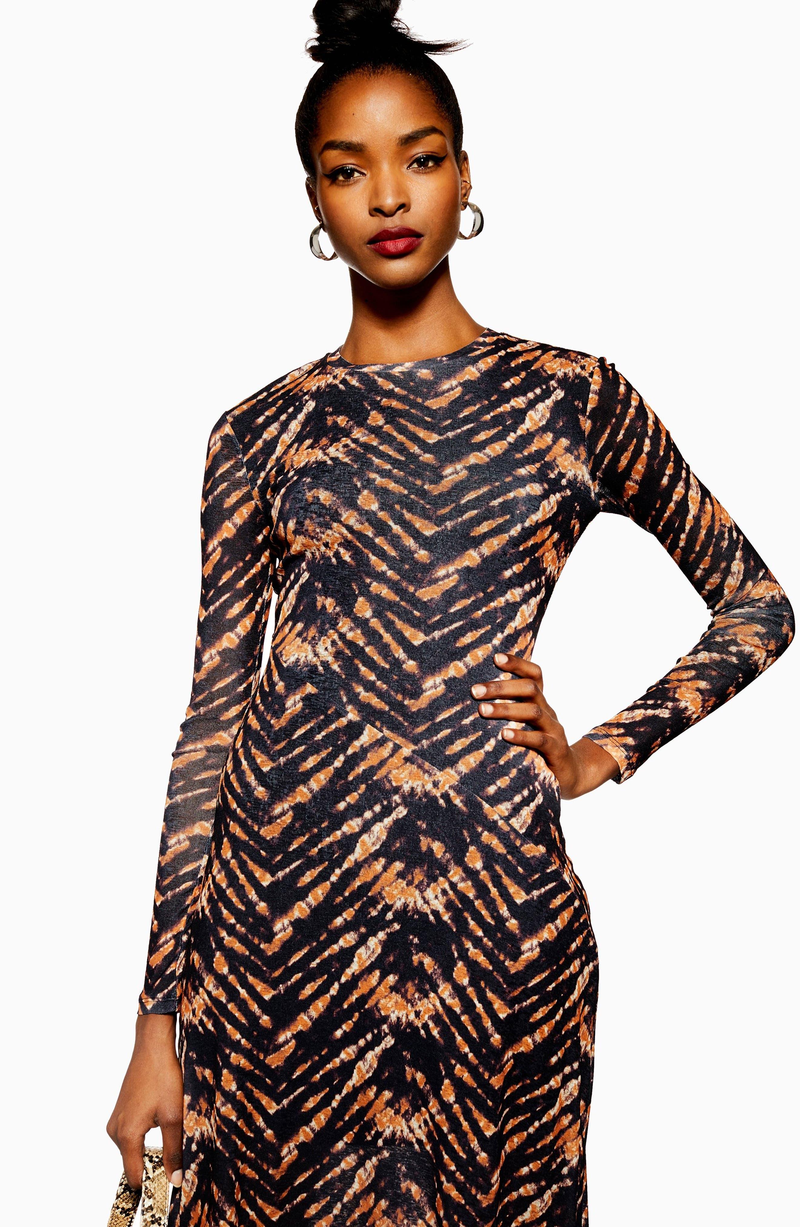 TOPSHOP,                             Tie Dye Mesh Midi Dress,                             Alternate thumbnail 6, color,                             BLACK MULTI
