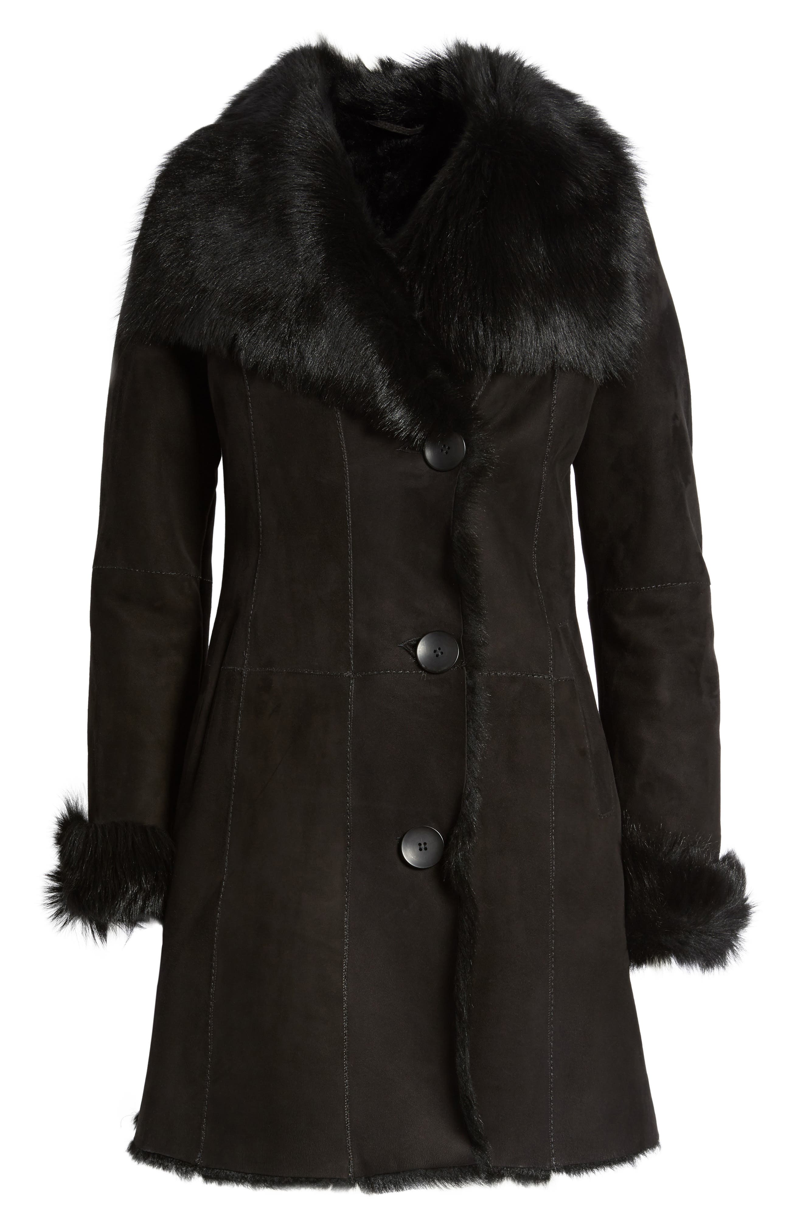 Genuine Shearling Coat,                             Alternate thumbnail 5, color,                             001