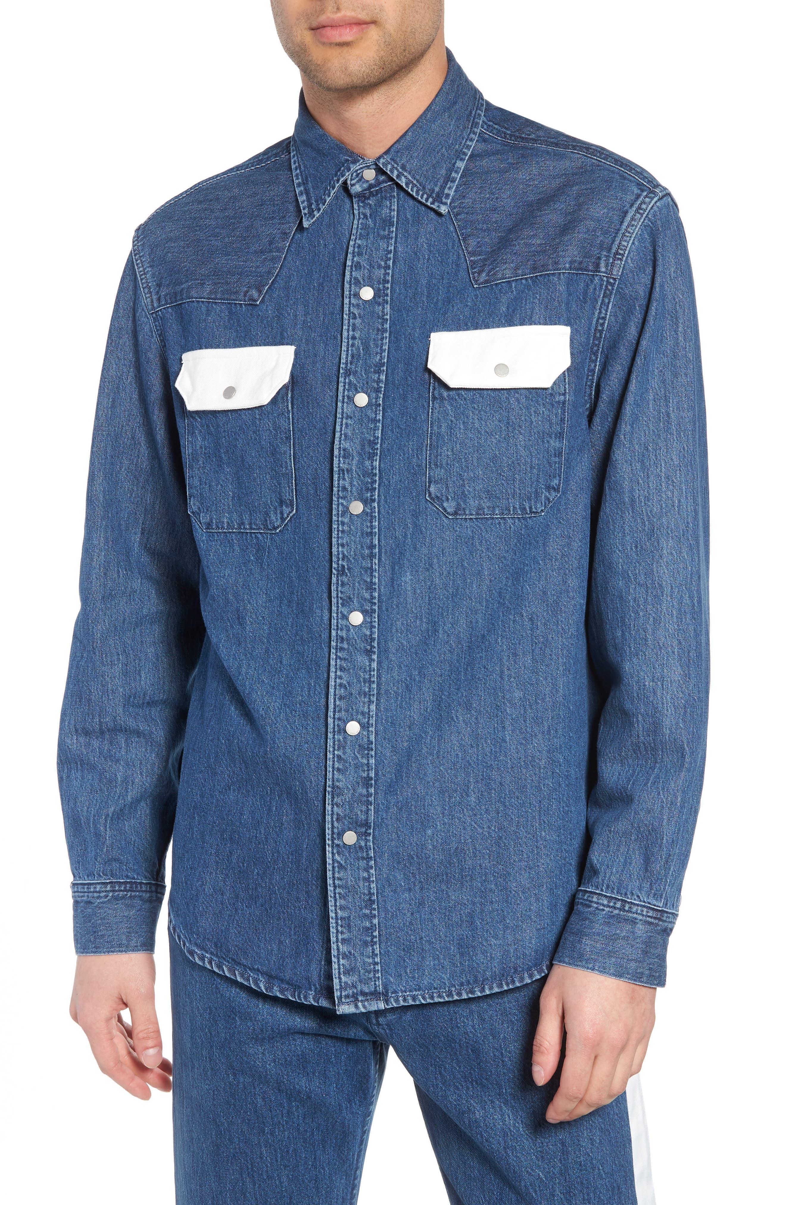 Calvin Klein Archive Colorblock Denim Western Shirt,                         Main,                         color, 400