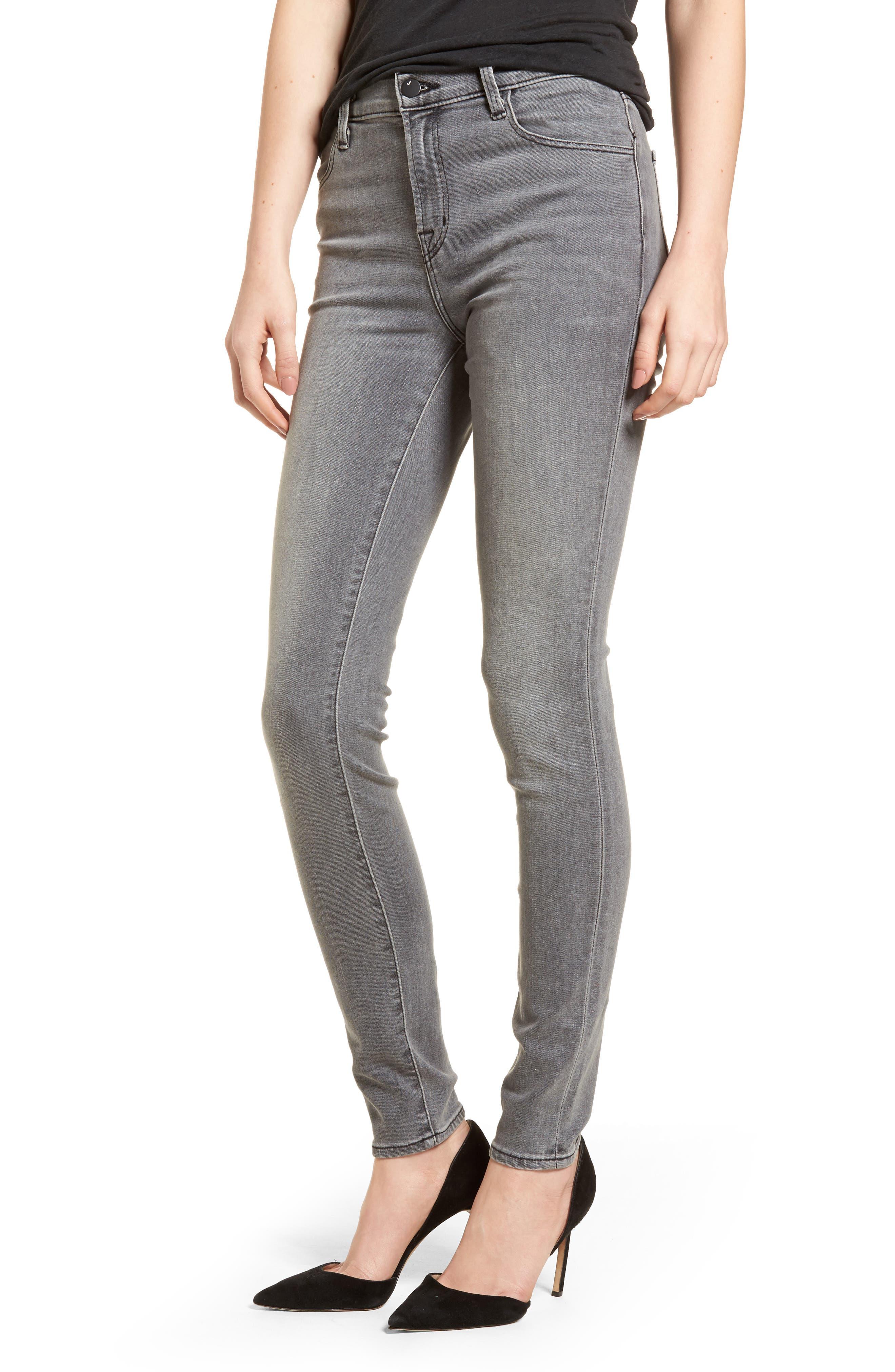 Maria High Waist Skinny Jeans,                         Main,                         color, PEBBLE