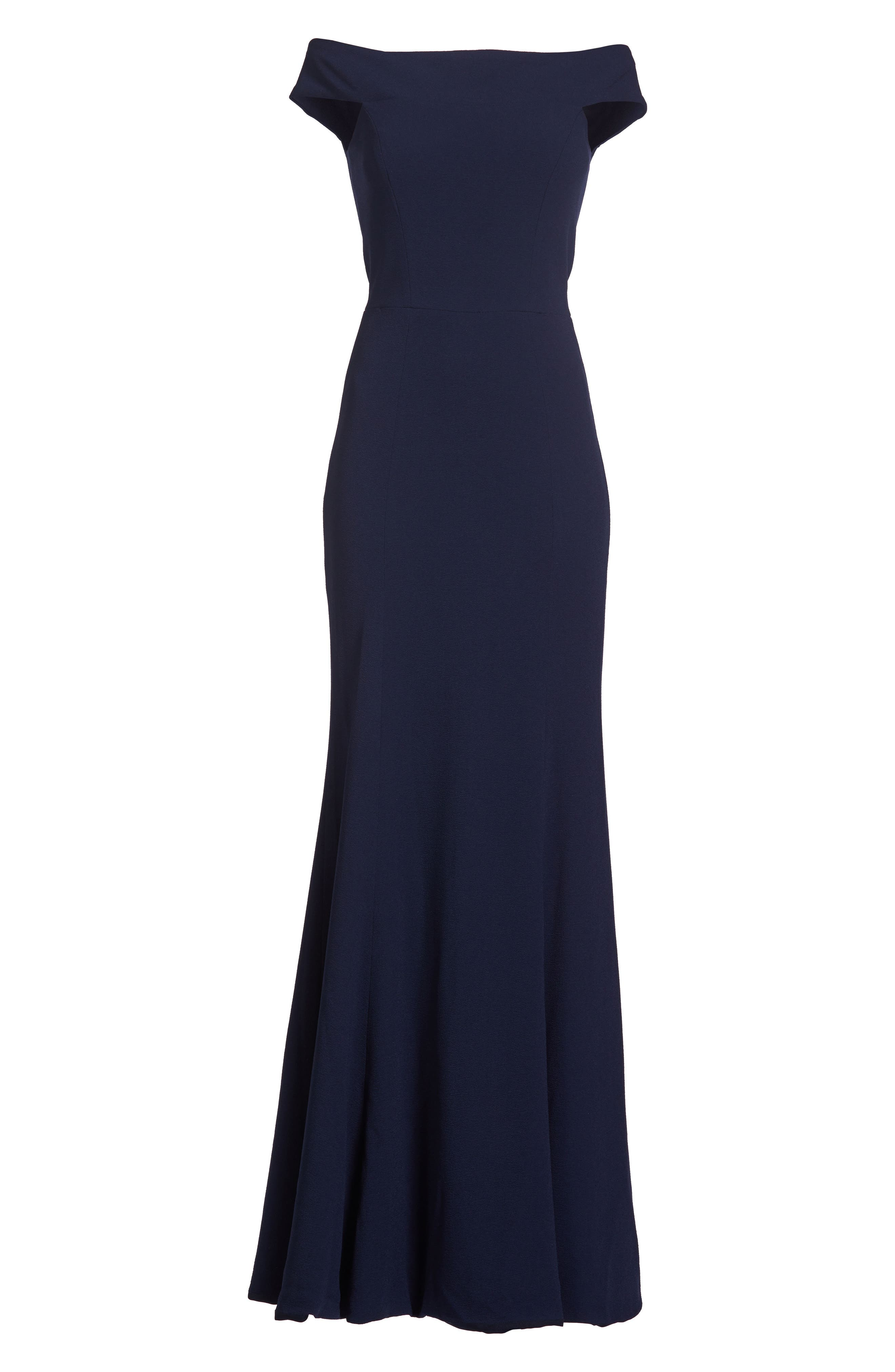 Jackie Off the Shoulder Crepe Trumpet Gown,                             Alternate thumbnail 6, color,                             NAVY