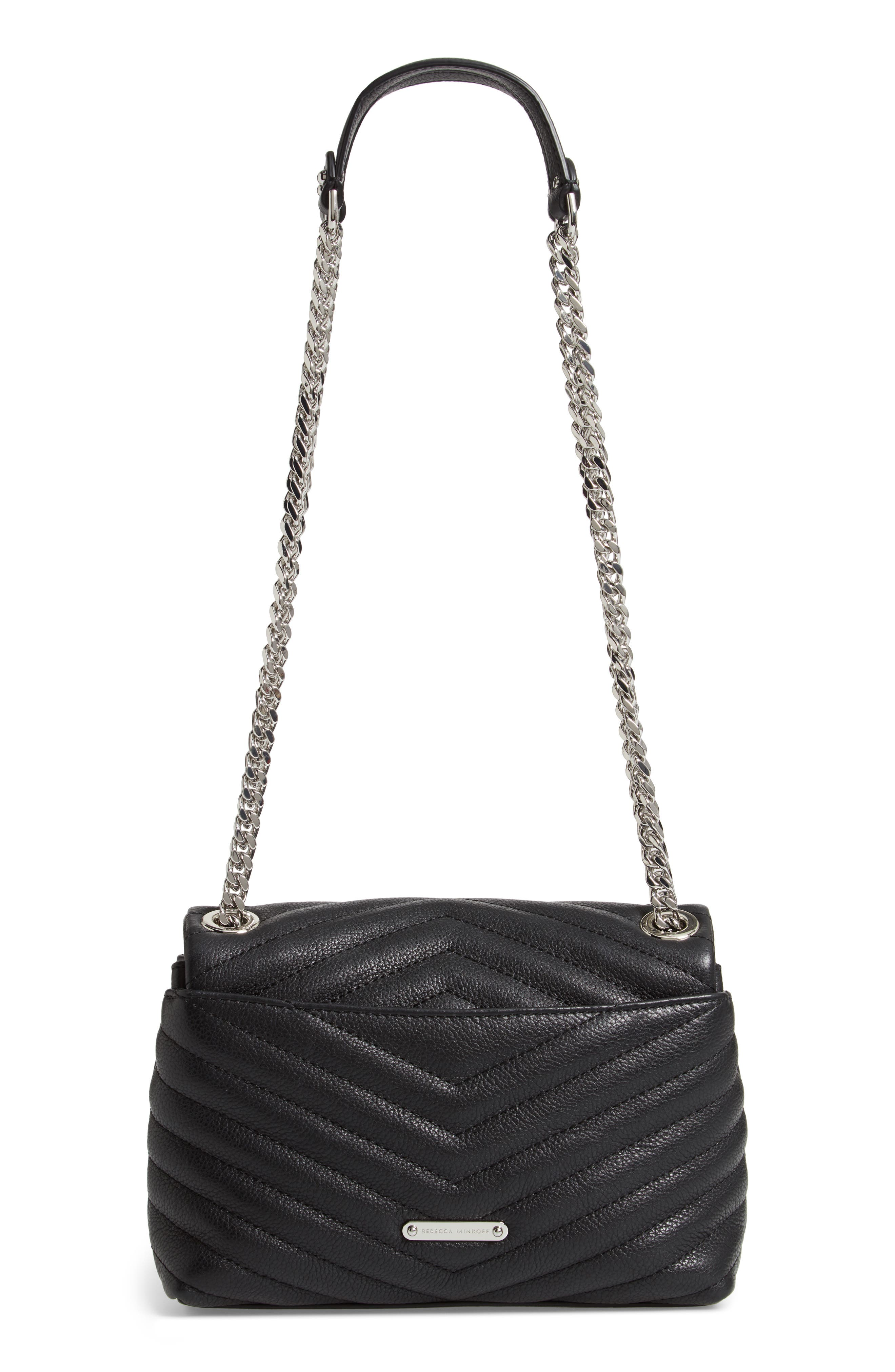 Edie Quilted Leather Crossbody Bag,                             Alternate thumbnail 3, color,                             BLACK