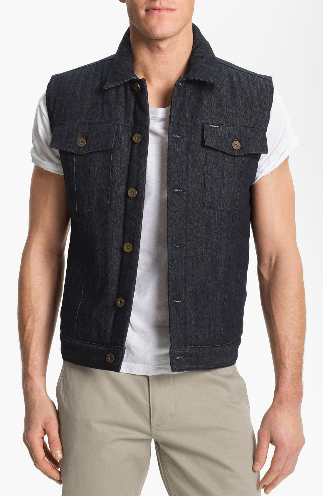 'Coker' Raw Denim Vest, Main, color, 410