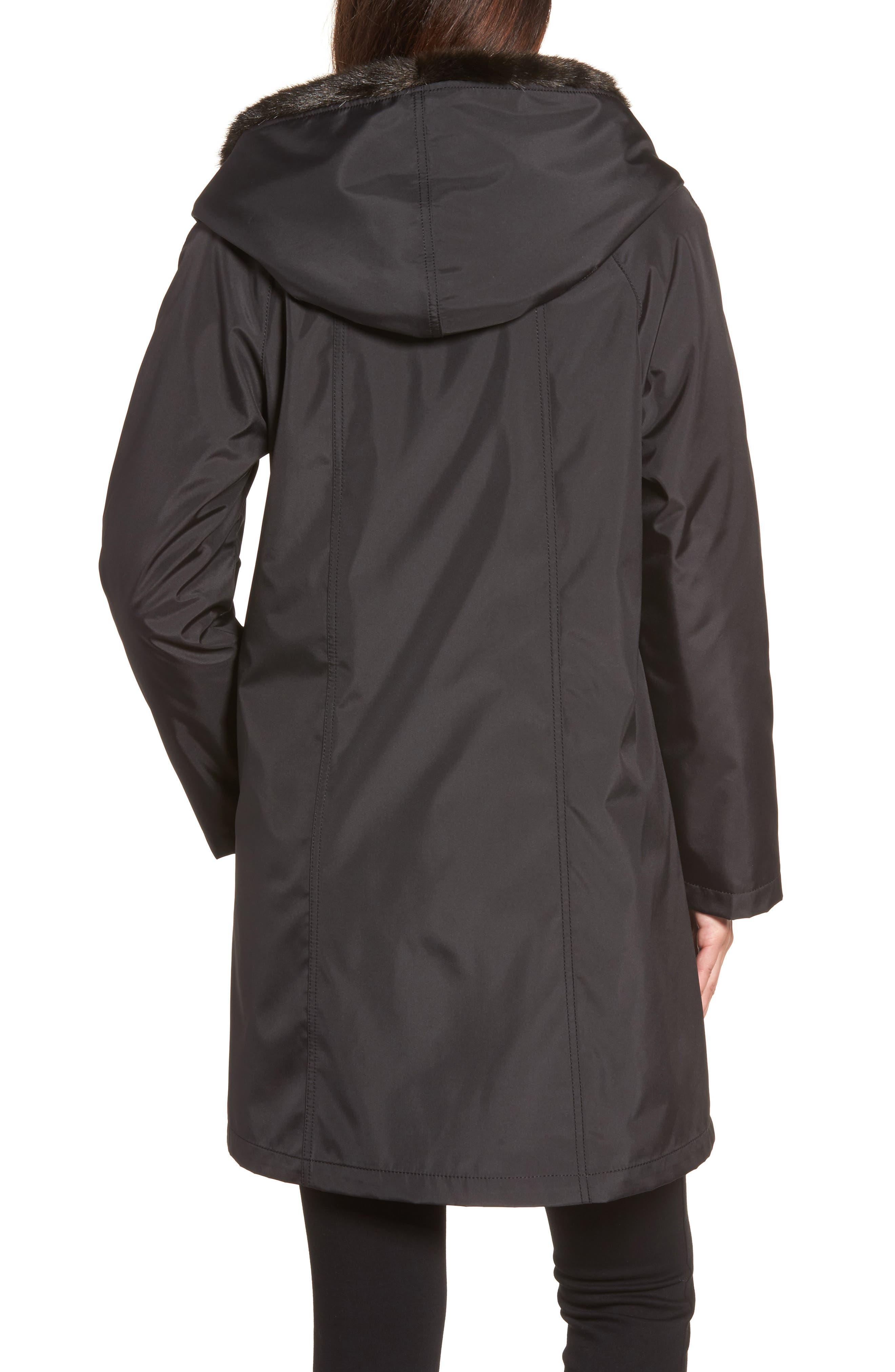 Storm Coat with Faux Fur Trim & Lining,                             Alternate thumbnail 2, color,                             001