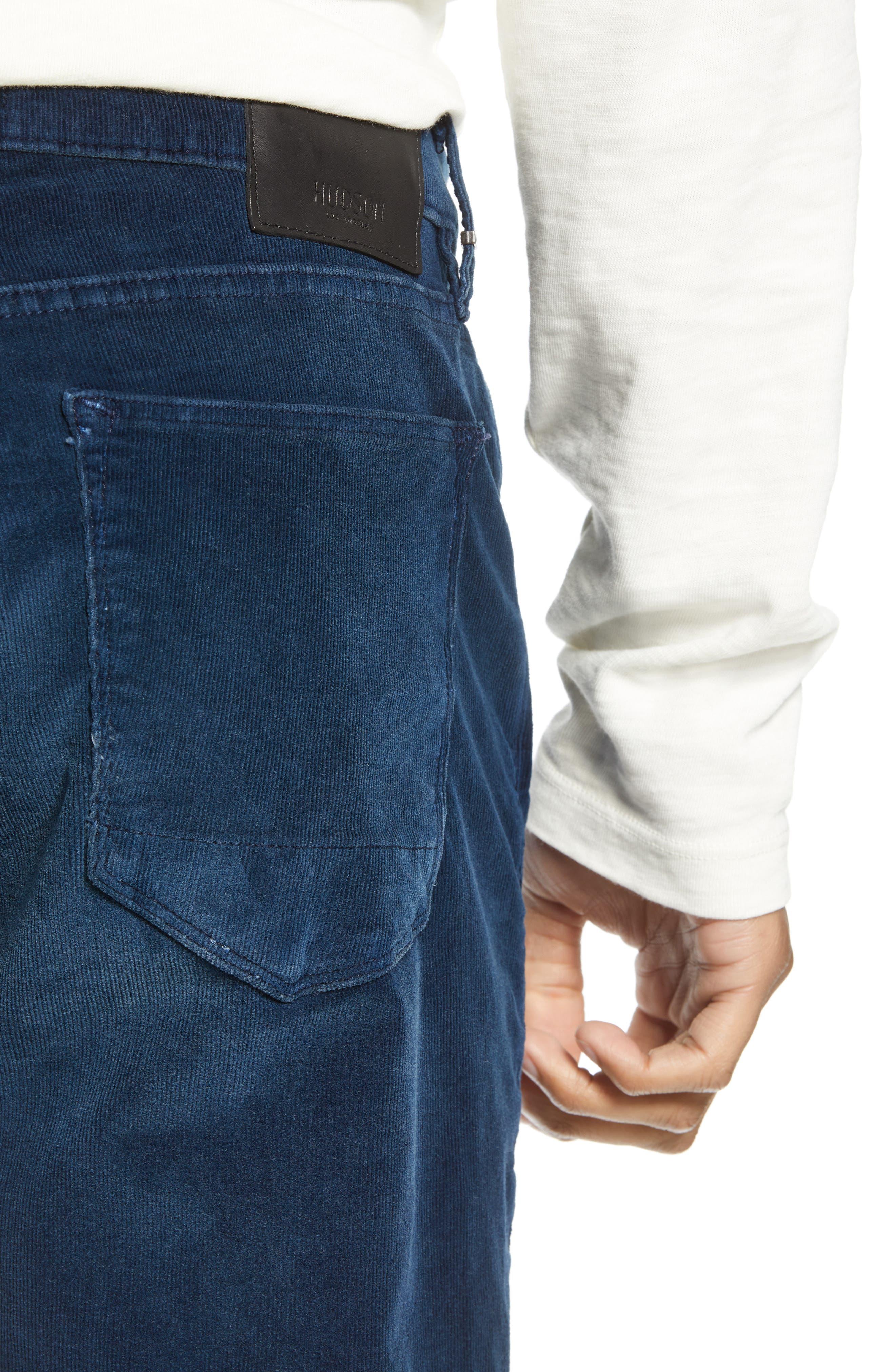 Blake Slim Fit Straight Leg Corduroy Pants,                             Alternate thumbnail 4, color,                             BLACK