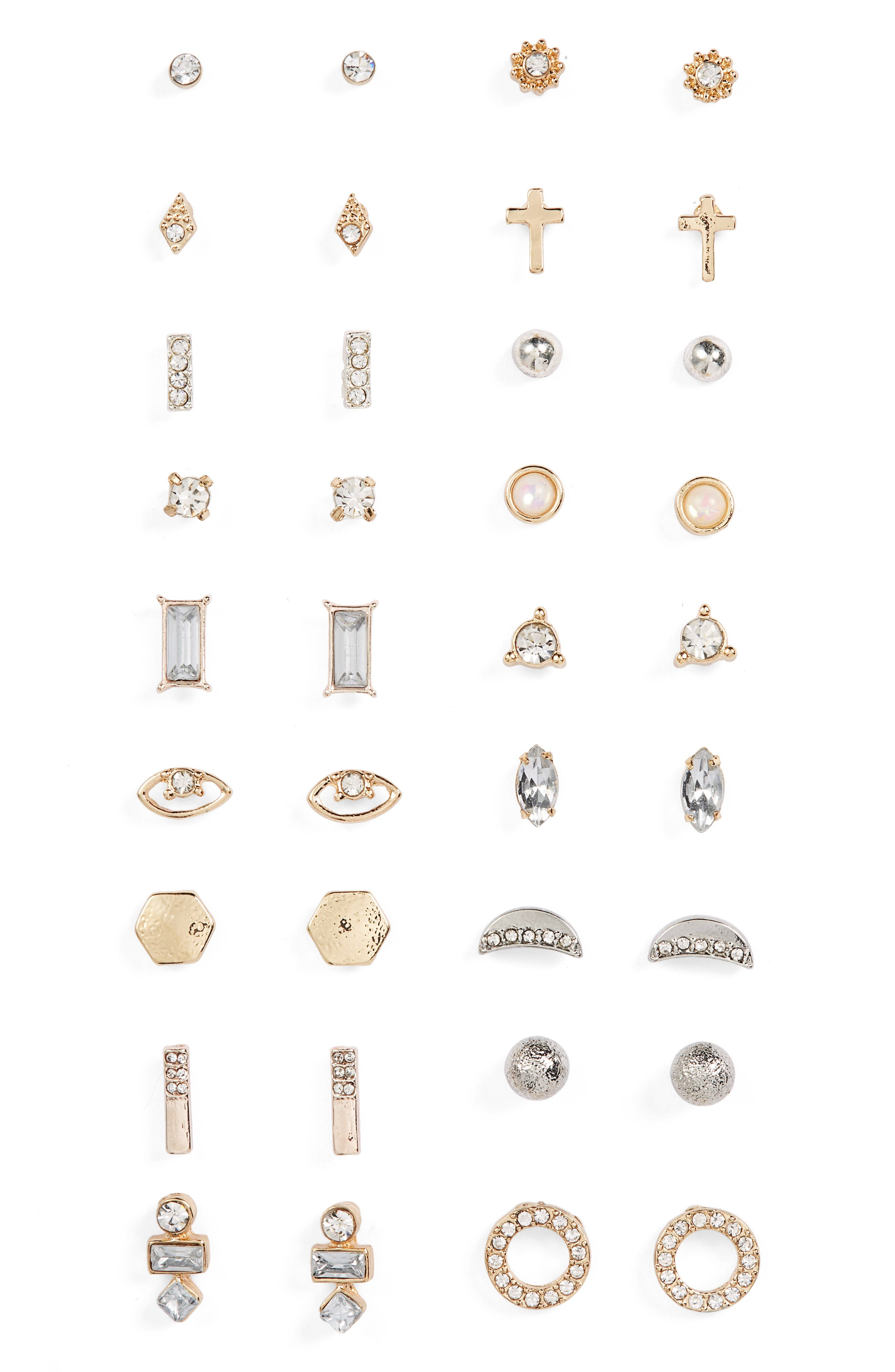 BP.,                             18-Pack Stud Earrings,                             Main thumbnail 1, color,                             710