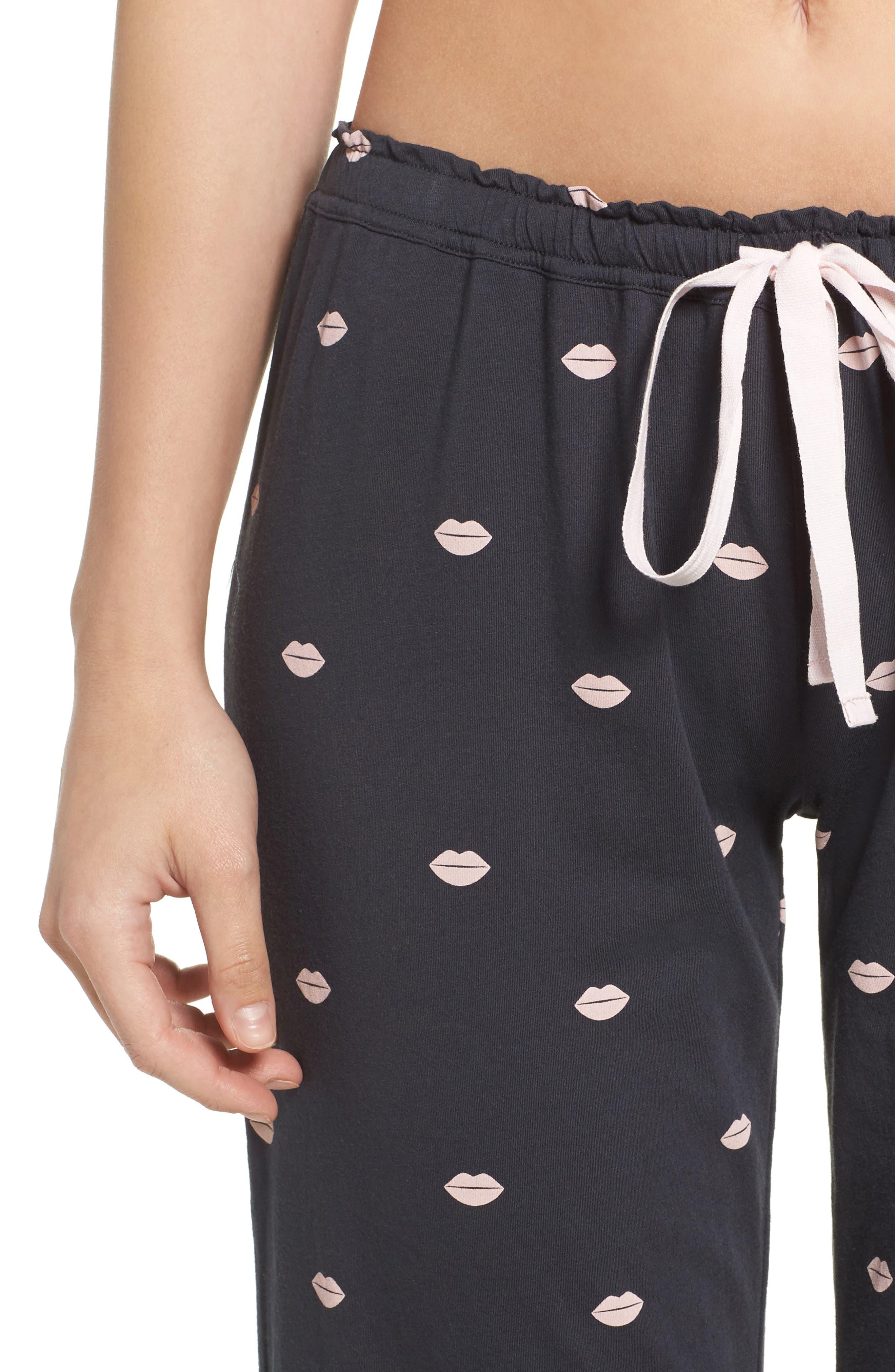 Lip Print Pajama Pants,                             Alternate thumbnail 4, color,                             030