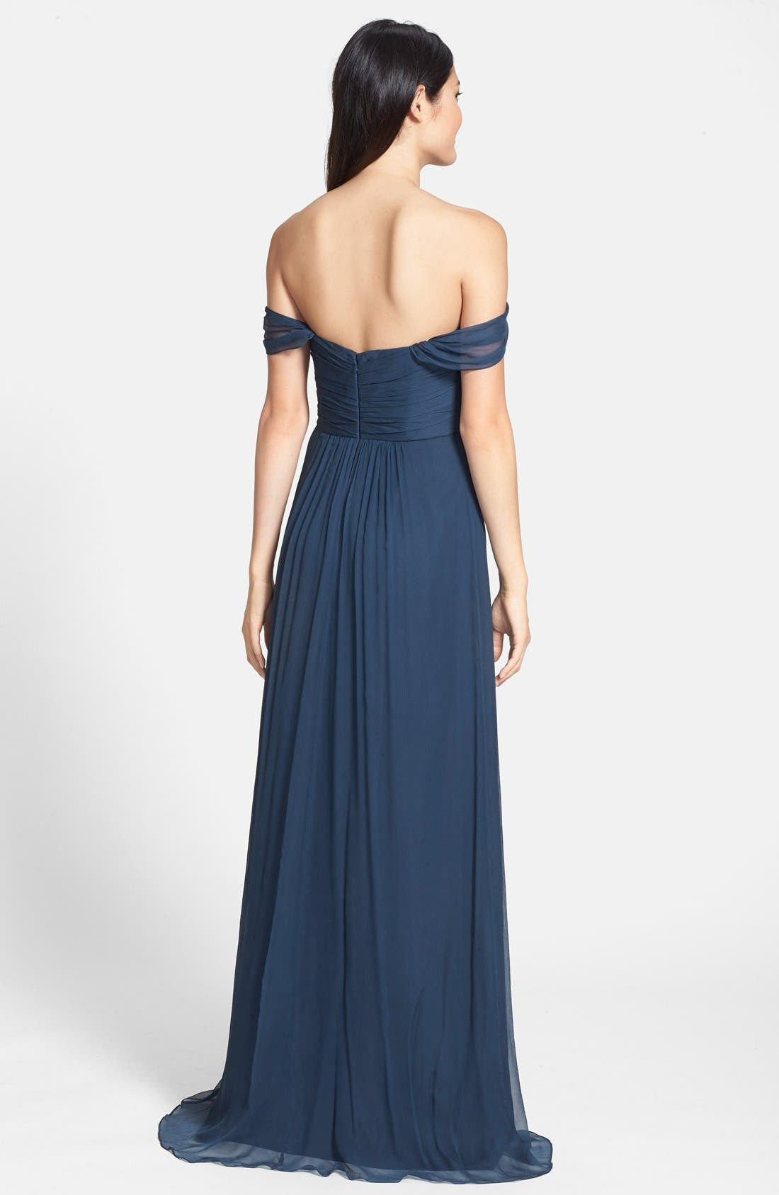 Convertible Crinkled Silk Chiffon Gown,                             Alternate thumbnail 13, color,