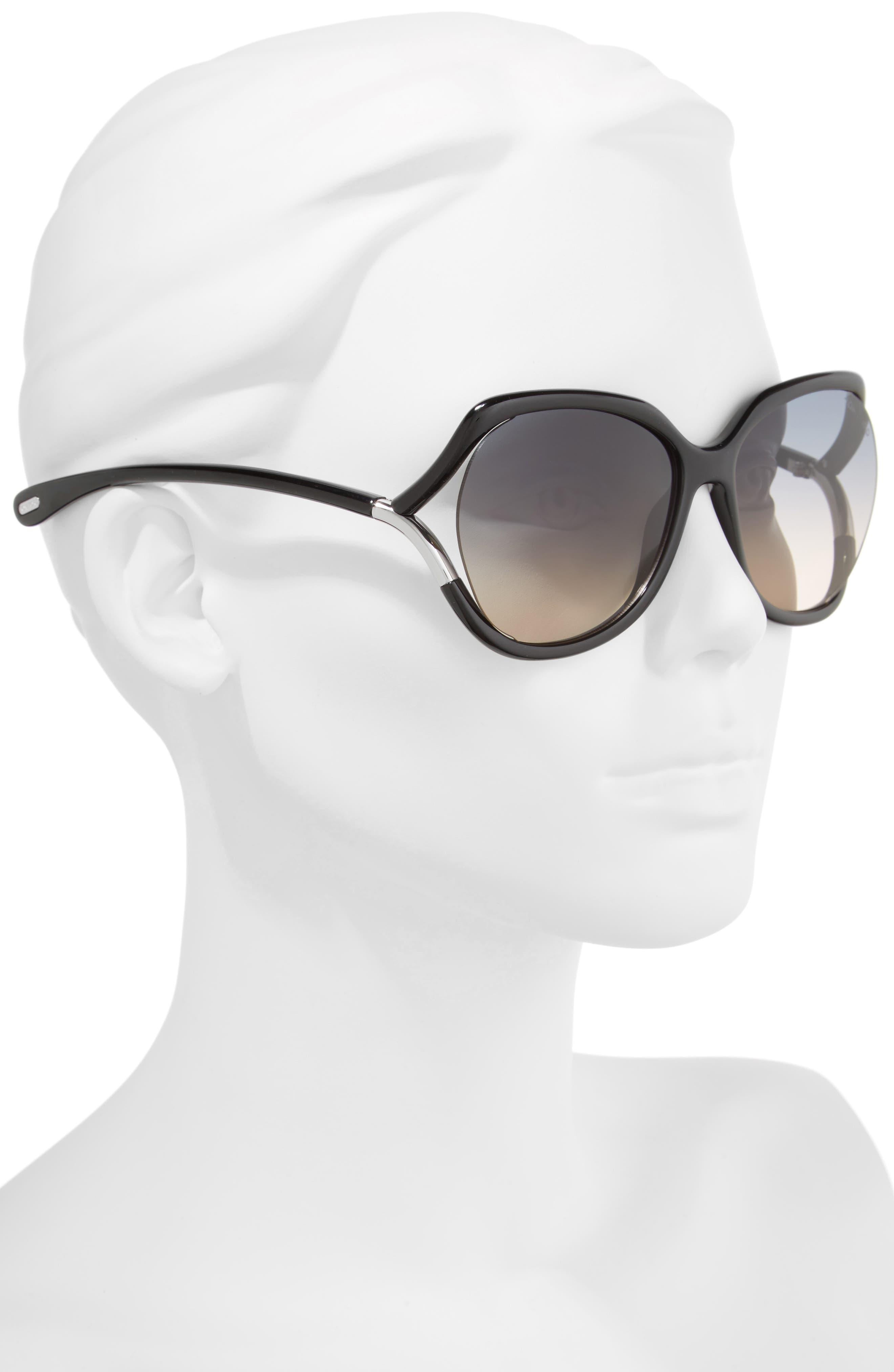 Anouk 60mm Geometric Sunglasses,                             Alternate thumbnail 2, color,                             BLACK/ GRADIENT SMOKE