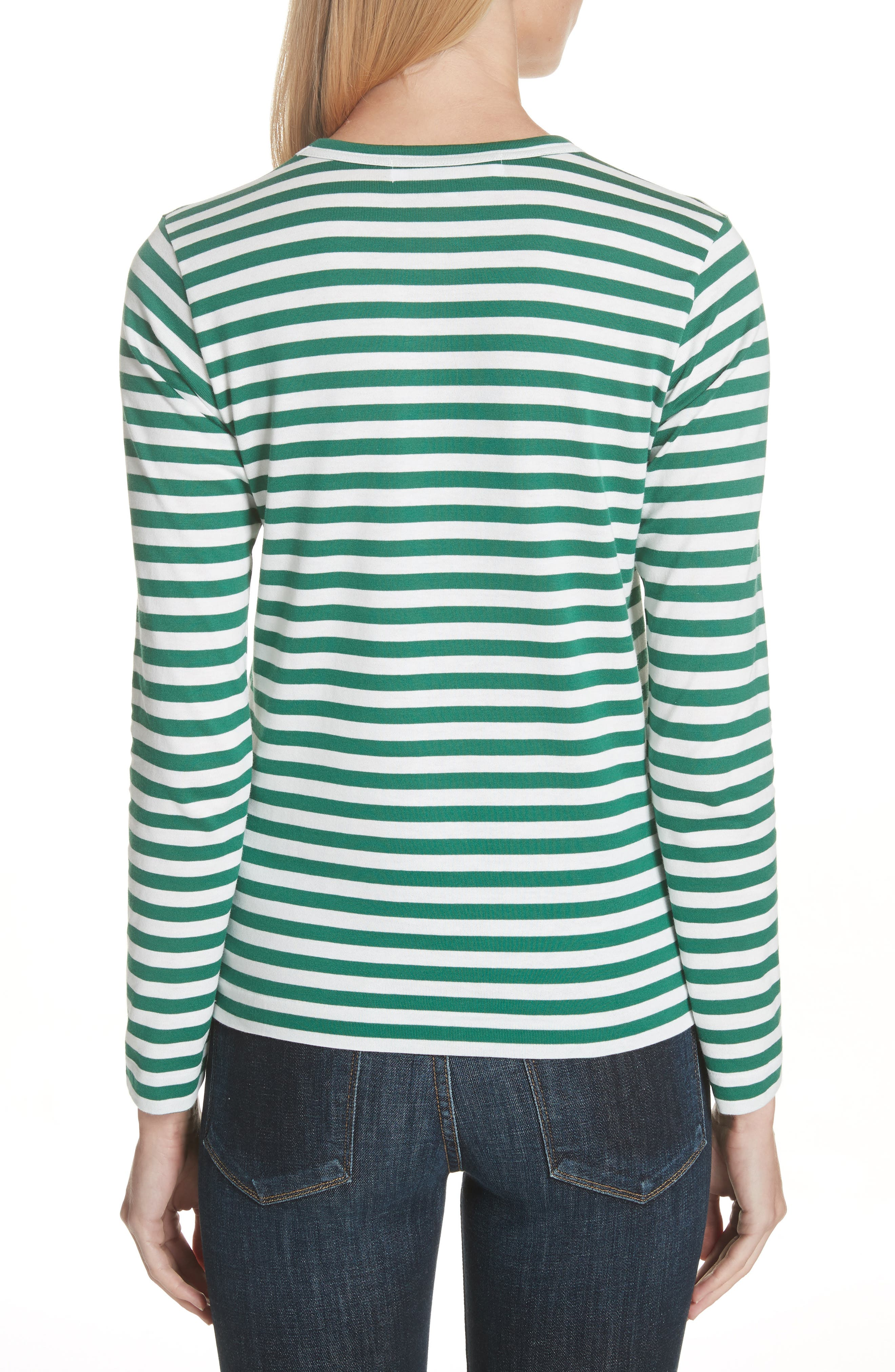 Comme des Garçons PLAY Stripe Cotton Tee,                             Alternate thumbnail 2, color,                             GREEN/ WHITE