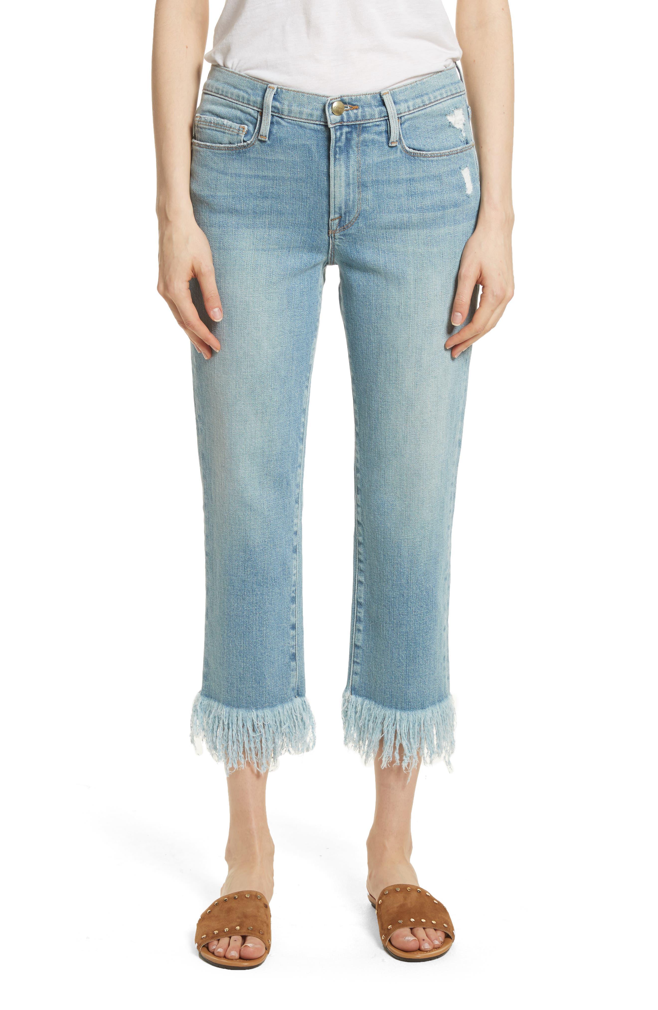 Le Nouveau Shredded Straight Leg Crop Jeans,                         Main,                         color, 450