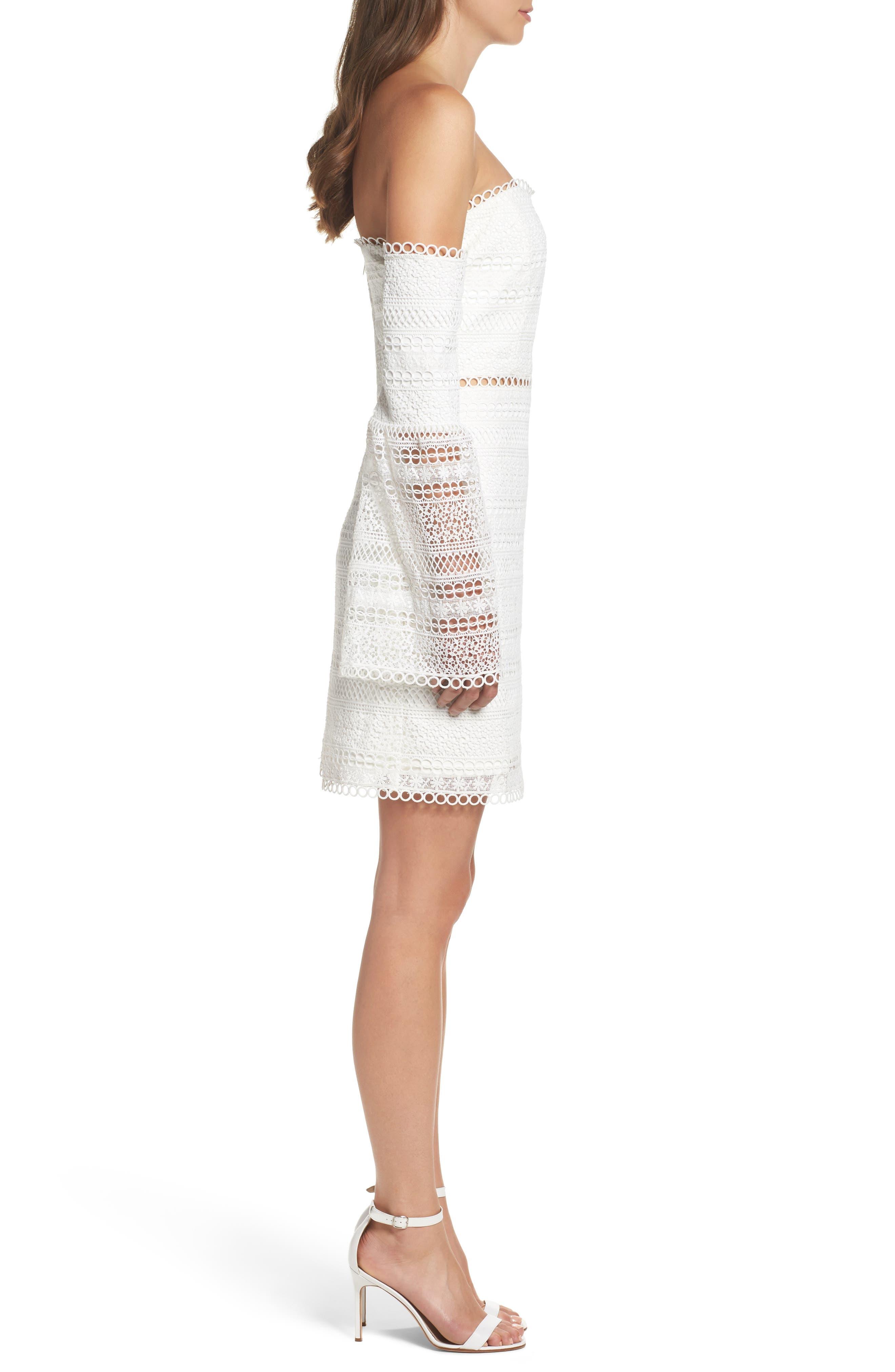 Catalina Lace Off the Shoulder Sheath Dress,                             Alternate thumbnail 3, color,                             100