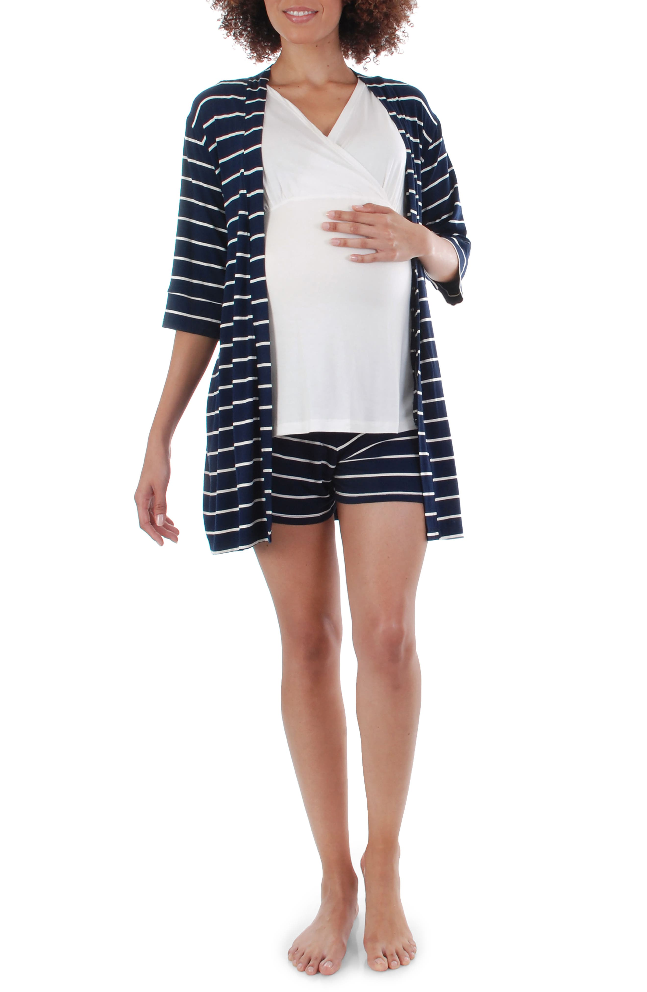 EVERLY GREY Adalia 5-Piece Maternity/Nursing Pajama Set, Main, color, NAVY STRIPE