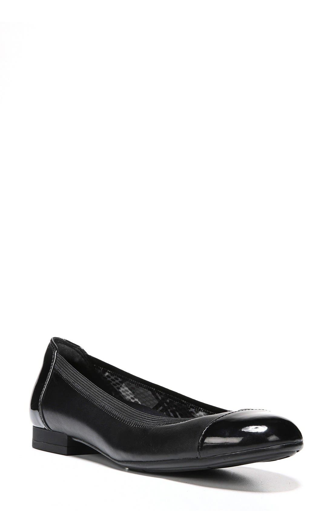 'Therese' Cap Toe Flat,                         Main,                         color, 001