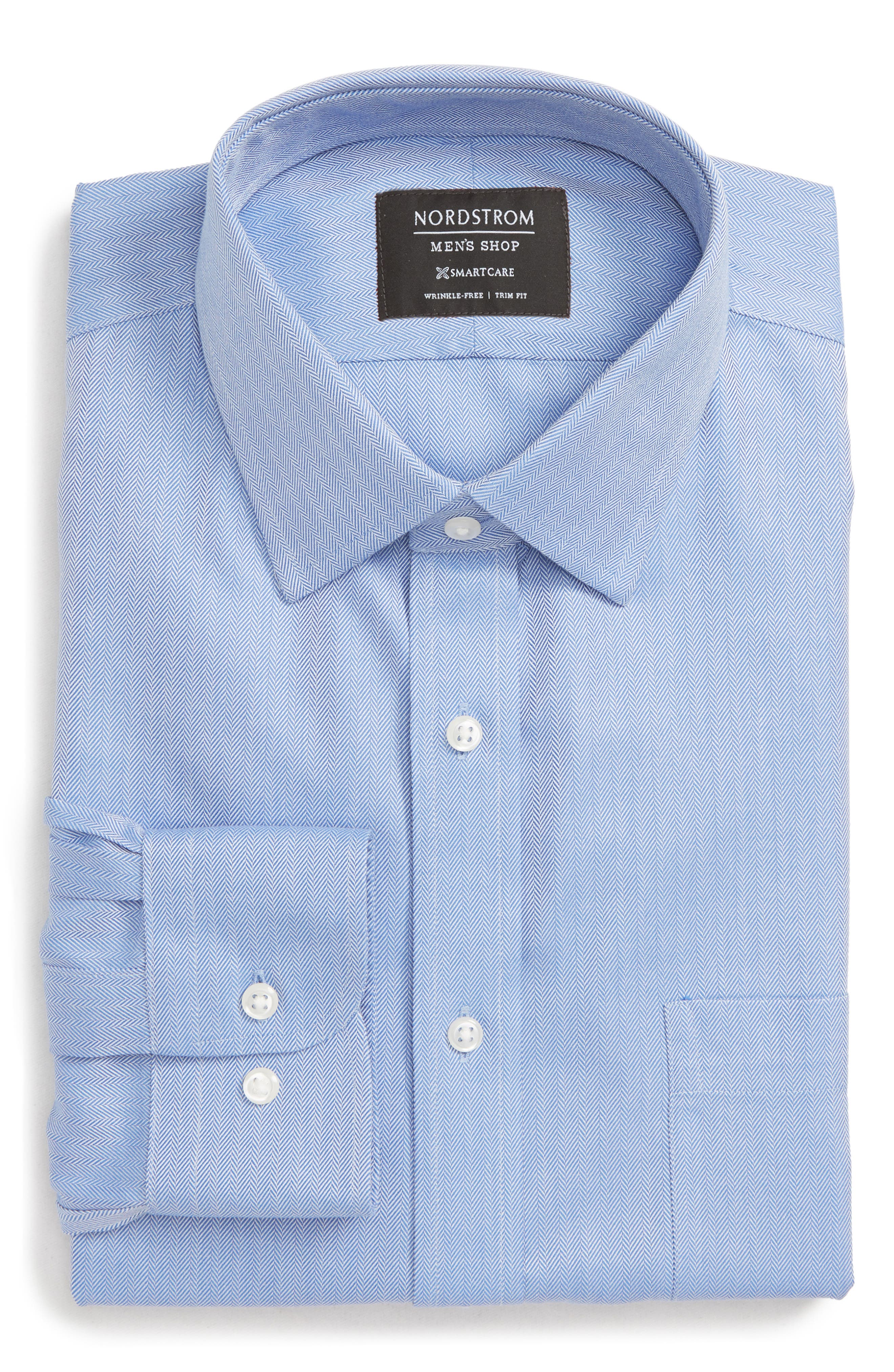 Nordstrom Shop Smartcare(TM) Trim Fit Herringbone Dress Shirt - Blue
