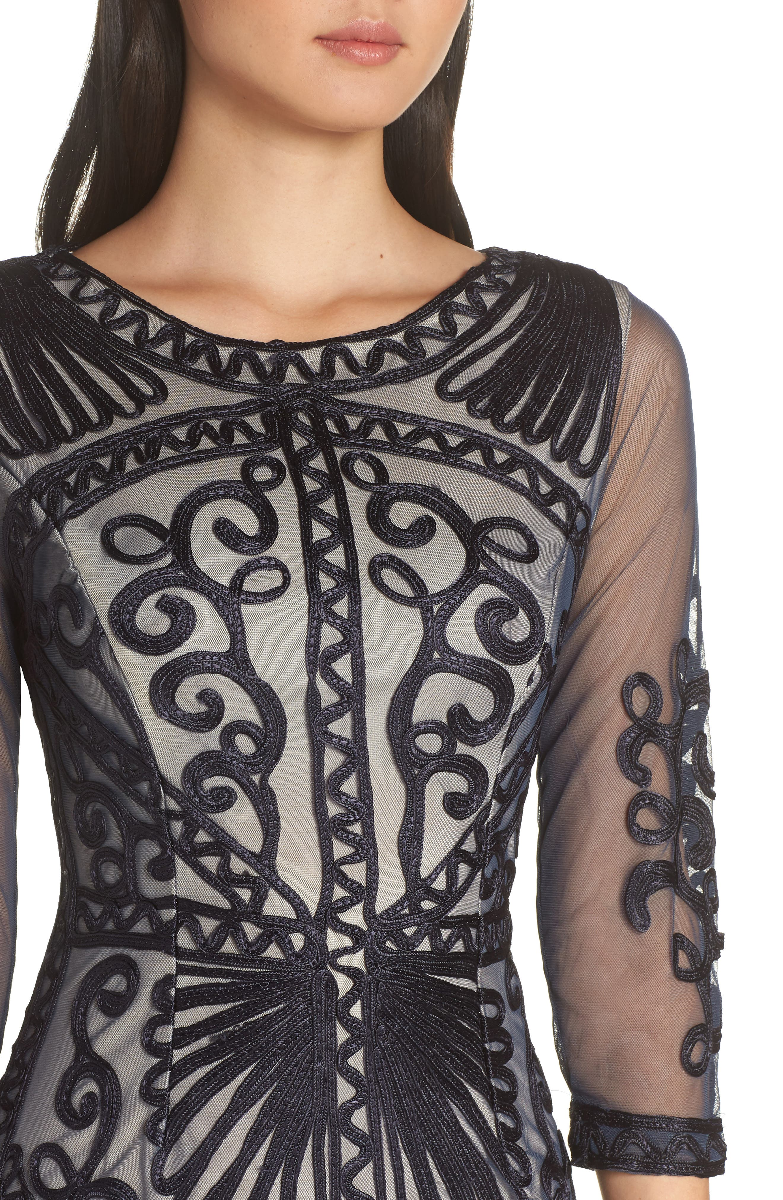 Sheer Sleeve Soutache Sheath Dress,                             Alternate thumbnail 4, color,                             NAVY/ NUDE