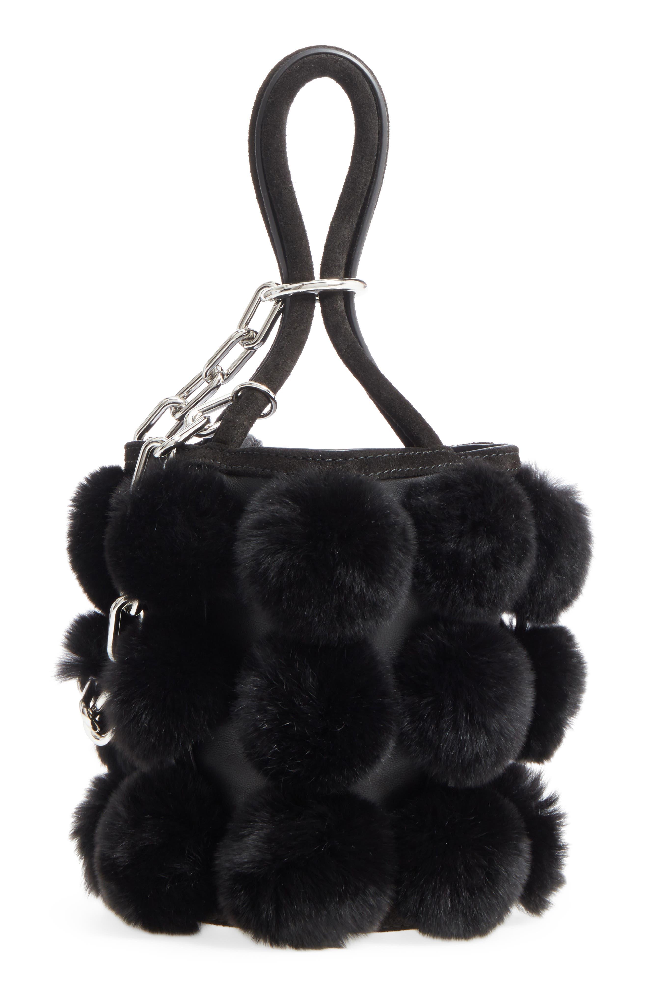 Mini Roxy Genuine Rabbit Fur Pompom Leather,                             Main thumbnail 1, color,                             001